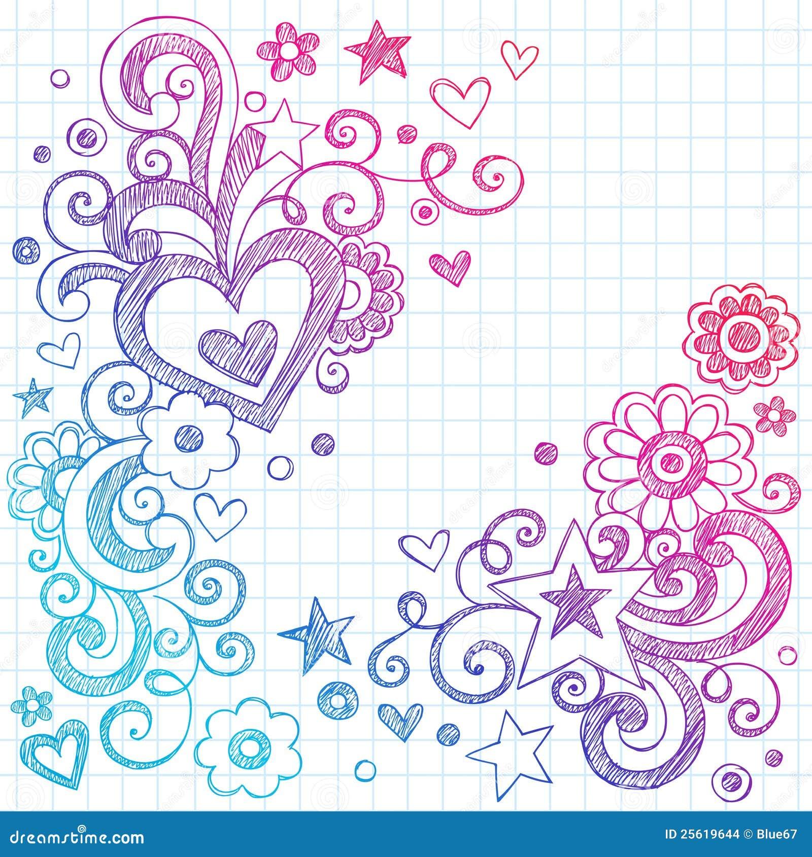 Hearts love sketchy doodles vector design elements stock for Decoraciones para hojas