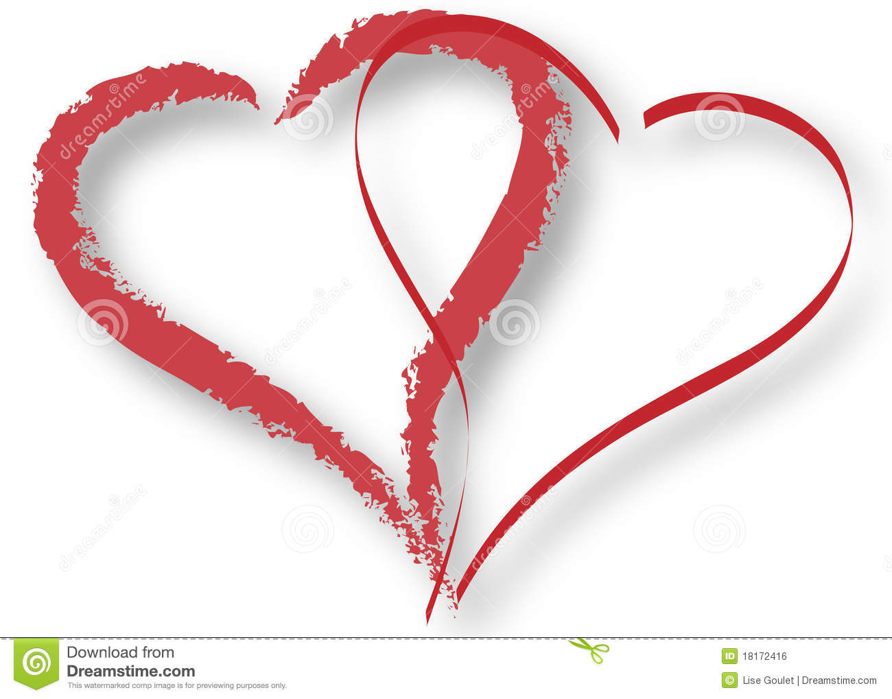 Outline of two overlapping red hearts with shadow on a white ...