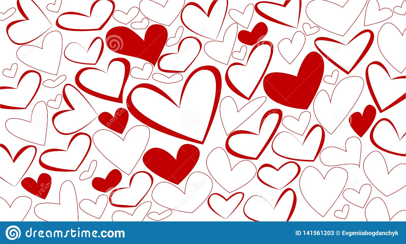 Hearts pattern background vector illustration red white