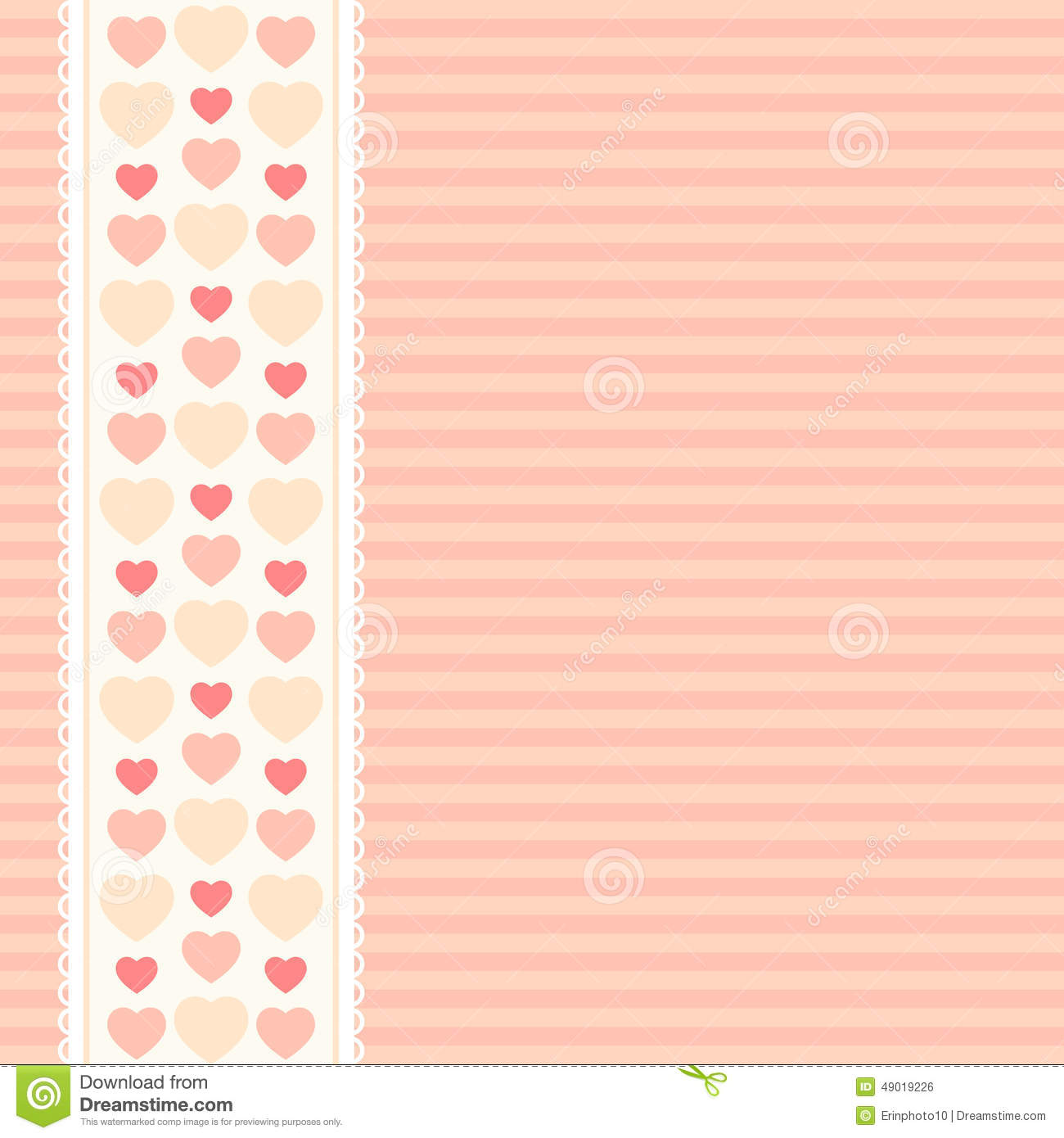Cute Hearts Pattern As Retro Textile Ribbon With Heartson Striped Background In Shabby Chic Style