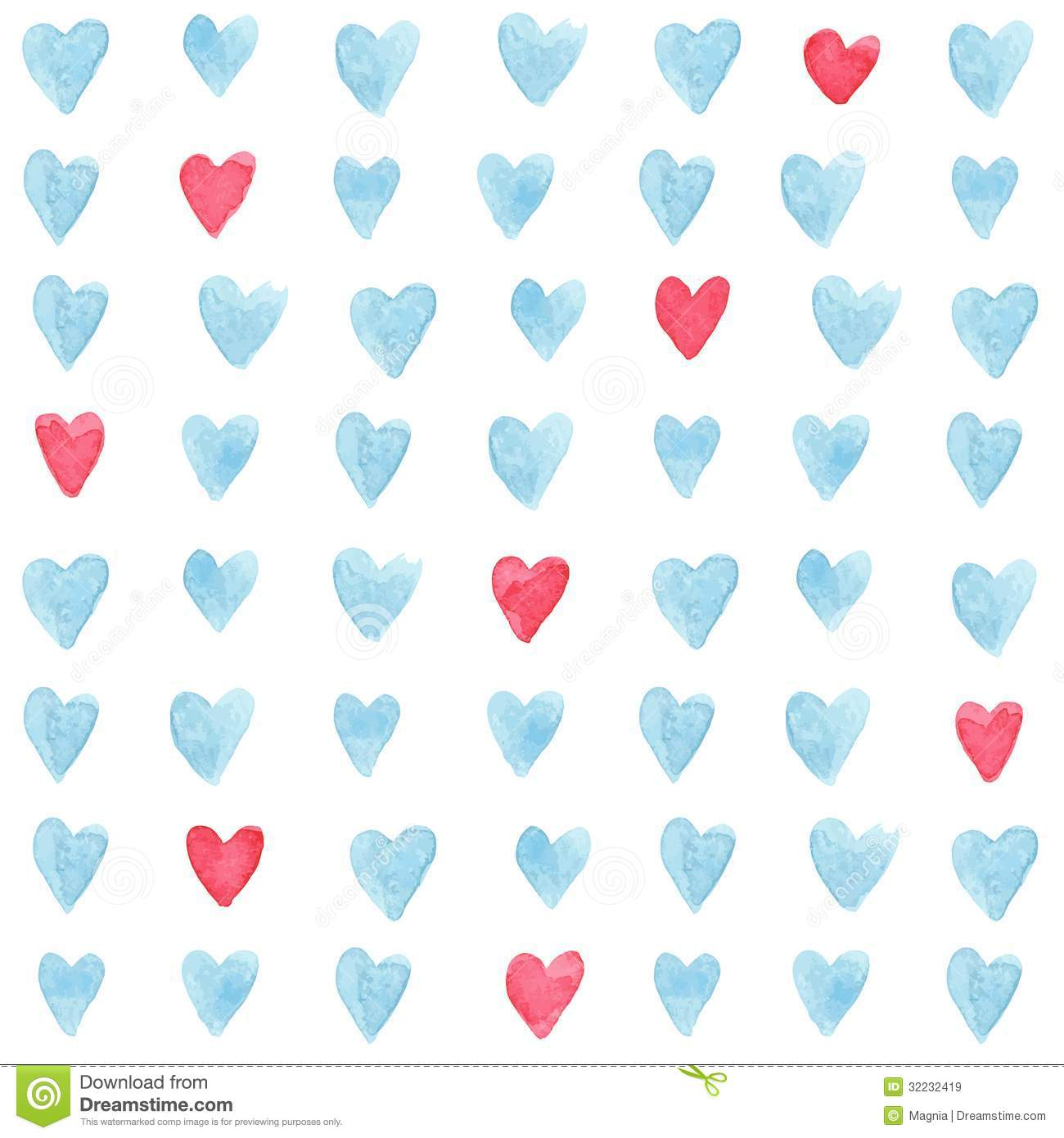 Stylish pattern with watercolor hearts. Vector illustration.