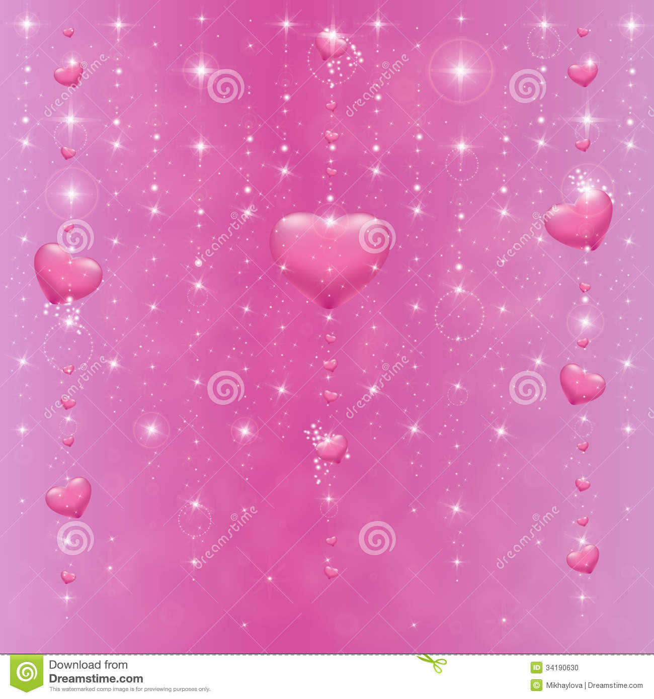 Hearts On A Pink Background With Stars Stock Photo - Image ...