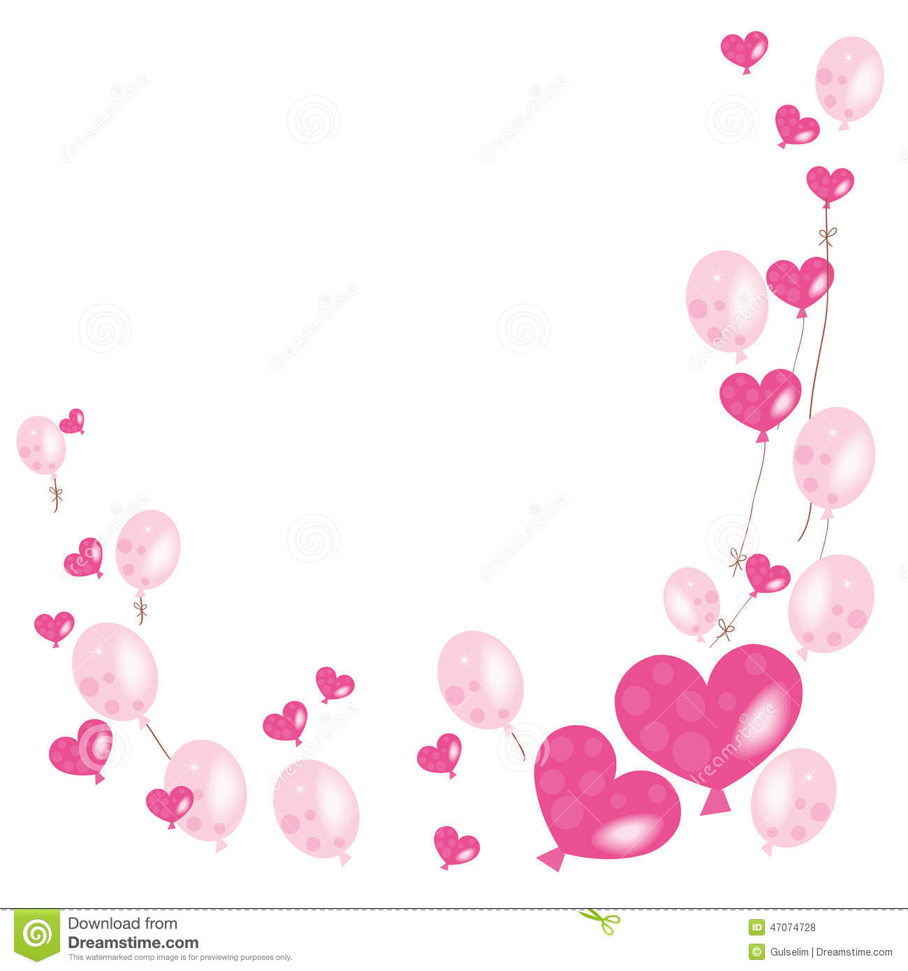 Hearts And Pink Balloons Vector Background
