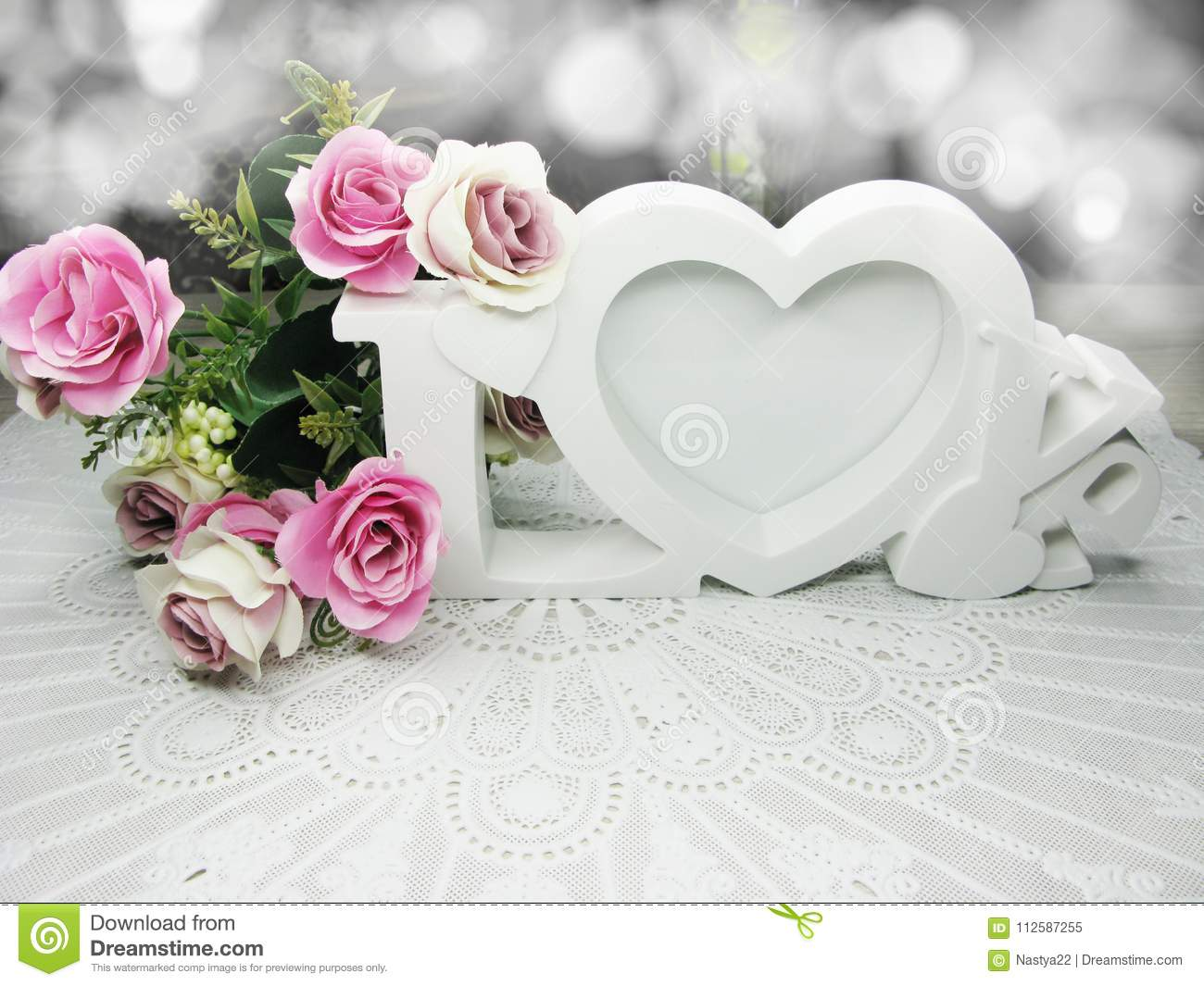 Hearts And Rose Flowers Greeting Card Valentine`s Day Love