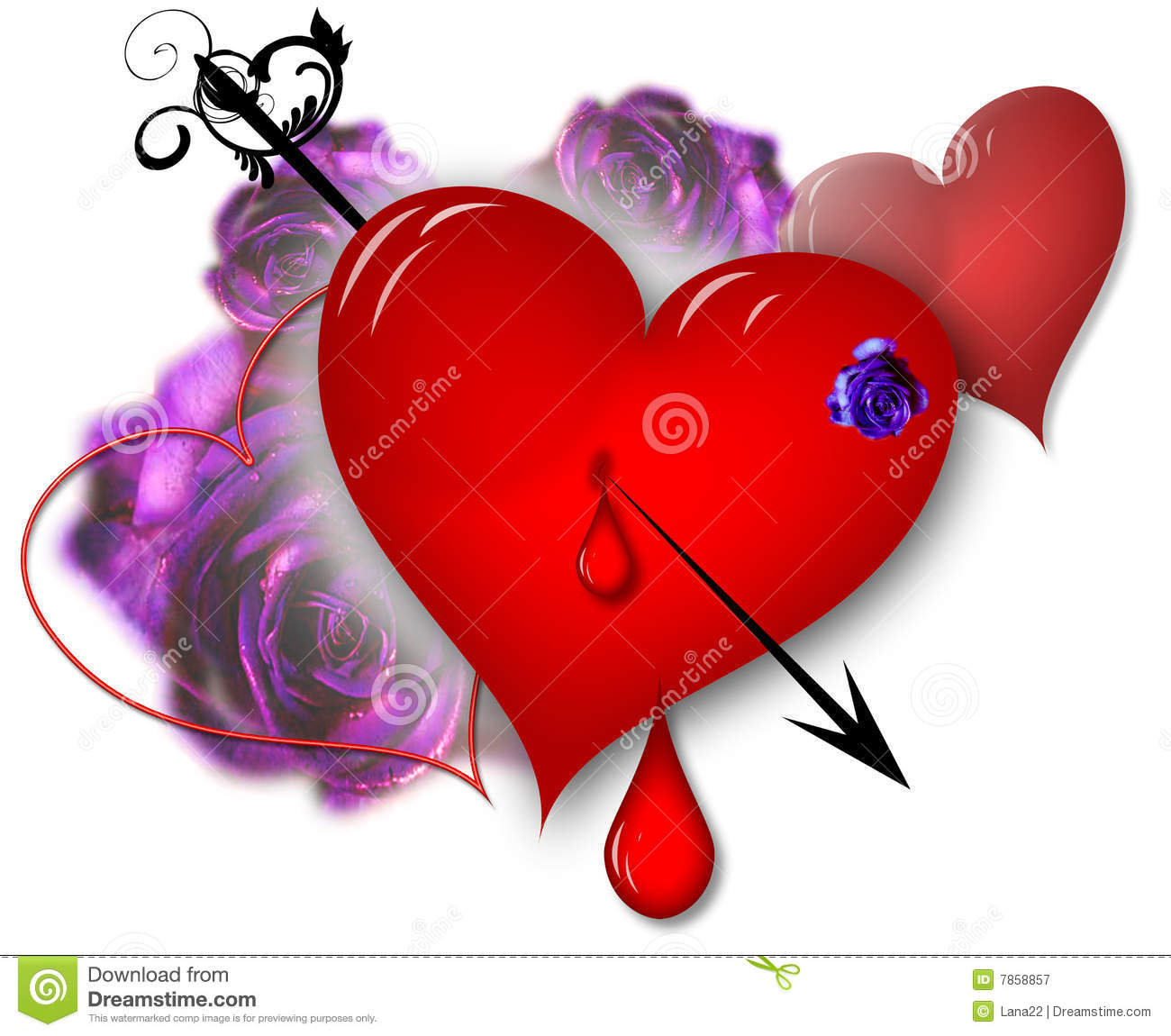 Hearts And Roses Royalty Free Stock Photography Image 7858857