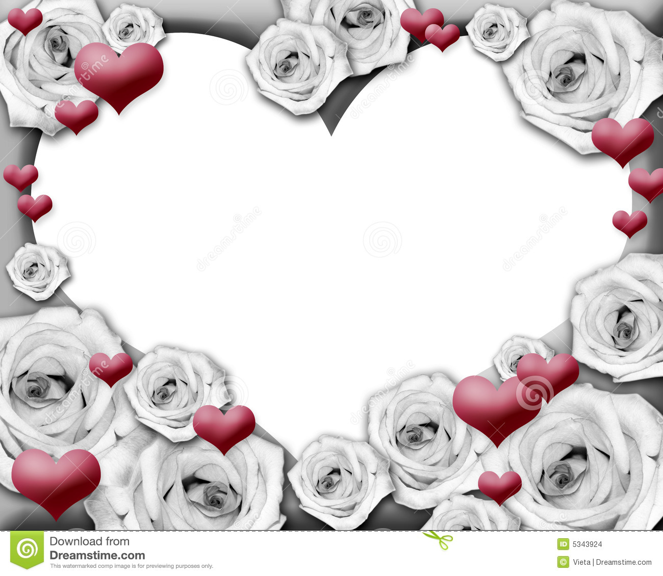 Hearts And Roses Photo Frame Stock Images Image 5343924