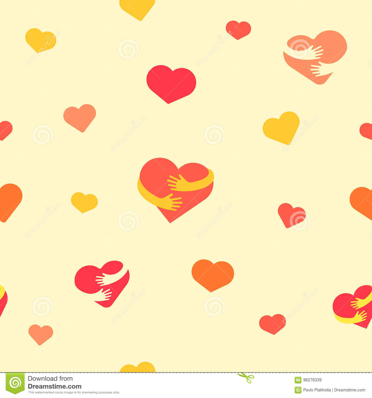 Hearts seamless pattern. Baby background with colorful hearts and hands. Vector illustration. Flat background for design