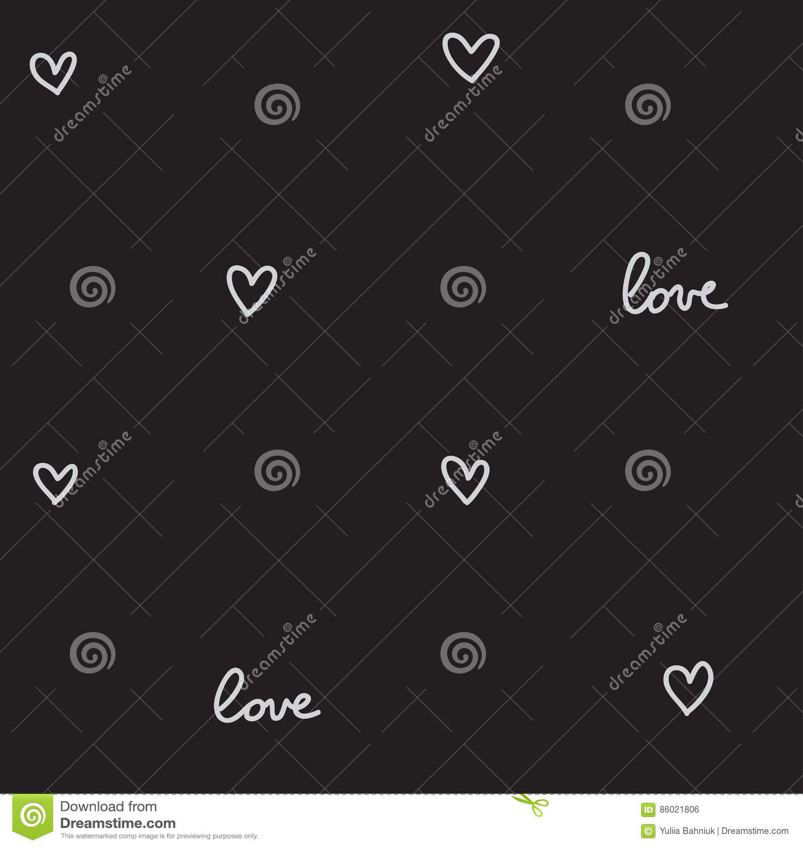 Hearts seamless pattern black