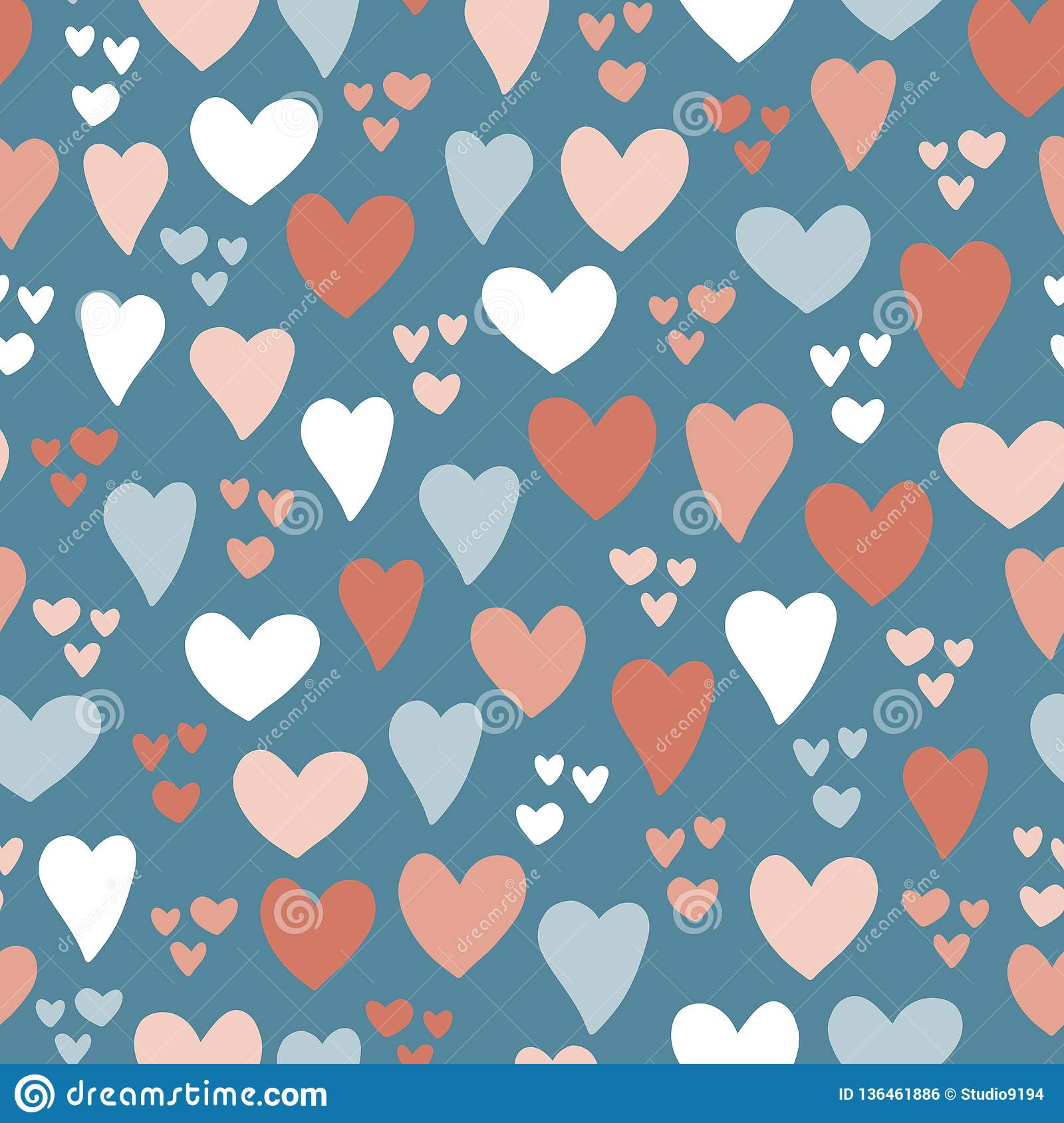 Hearts seamless vector pattern background. Hand drawn hearts isolated pink, coral, blue. Use for card, invitation, album,