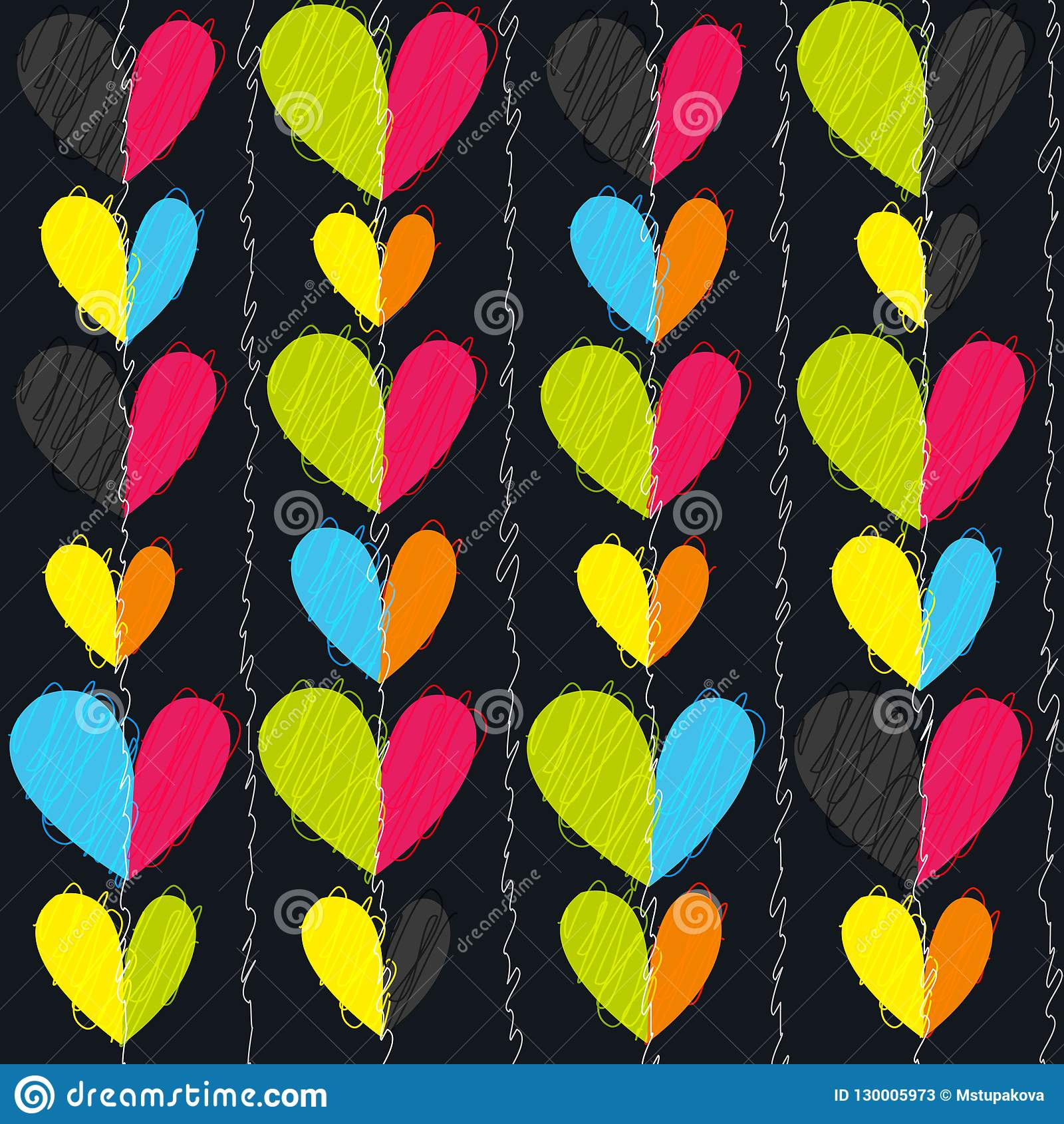 Hearts seamless vector pattern for girlish design. Girlish print with bright hearts on black.