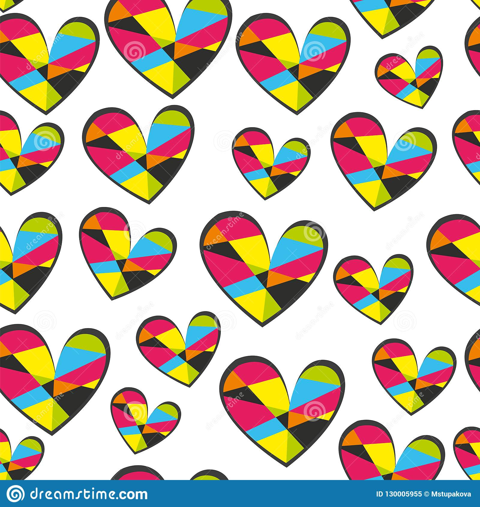 Hearts seamless vector pattern for girlish design. Girlish print with bright hearts on white.