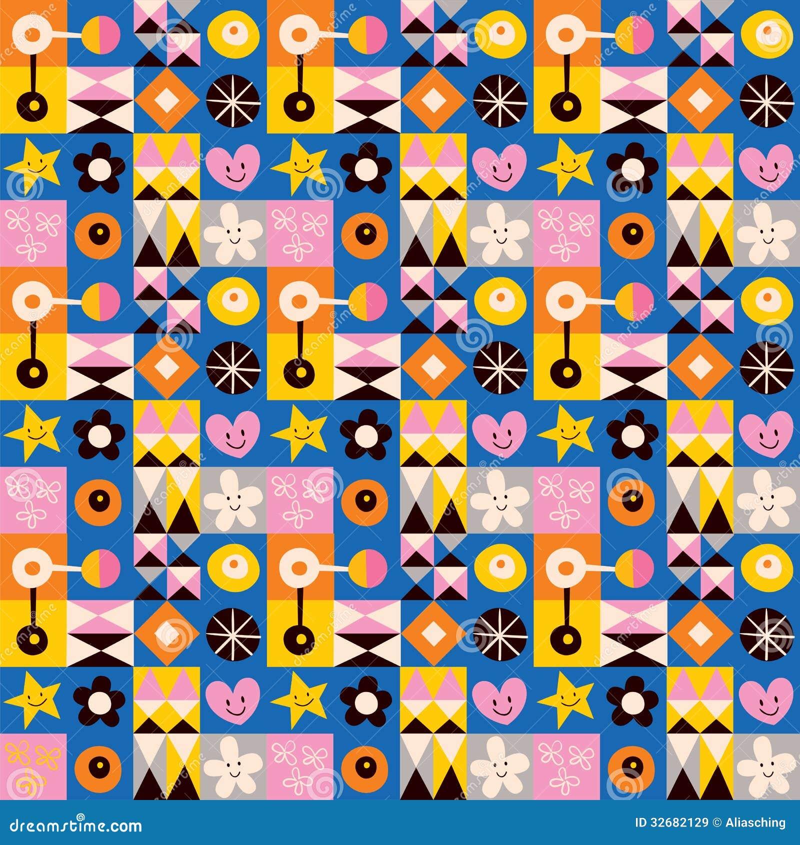 Fun cartoon abstract art retro seamless pattern vector for Cute abstract art