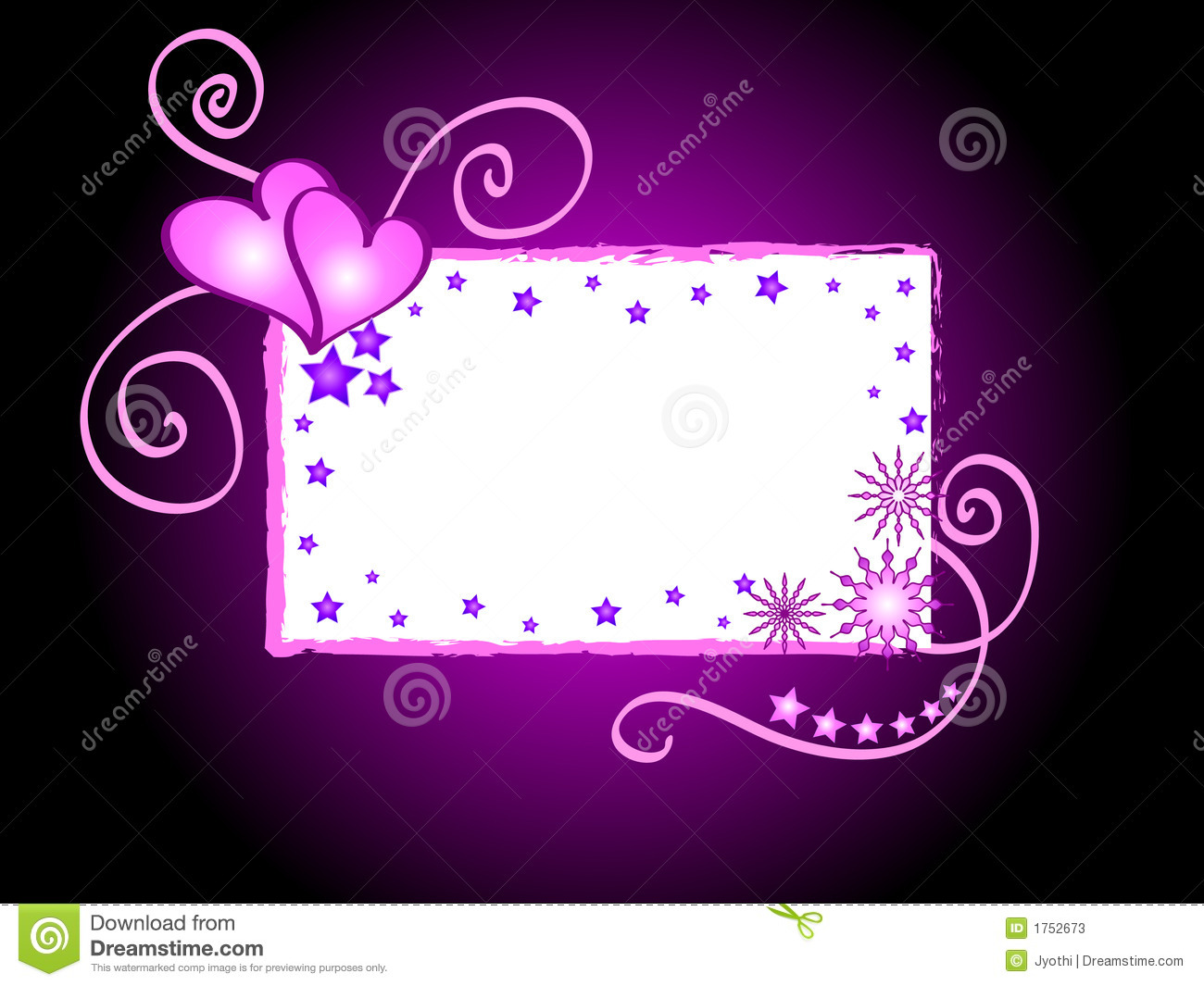 Hearts and stars frame