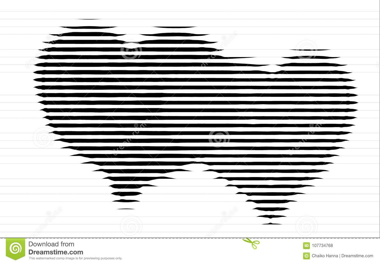 Hearts Strokes Scribble Sketch Drawing In Black On White Background