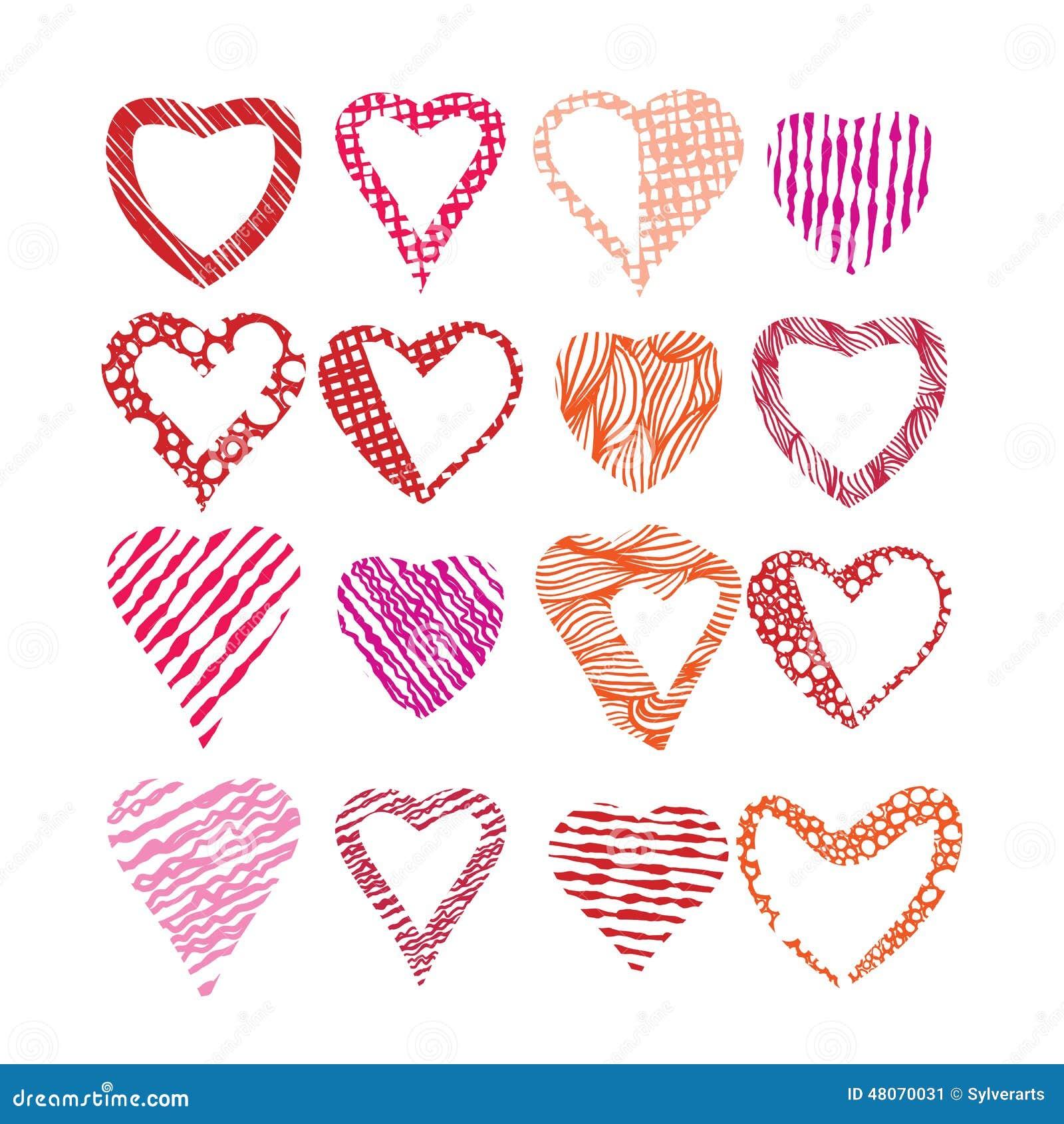 Hearts Symbols Vector Set Different Shapes And Textures Vector