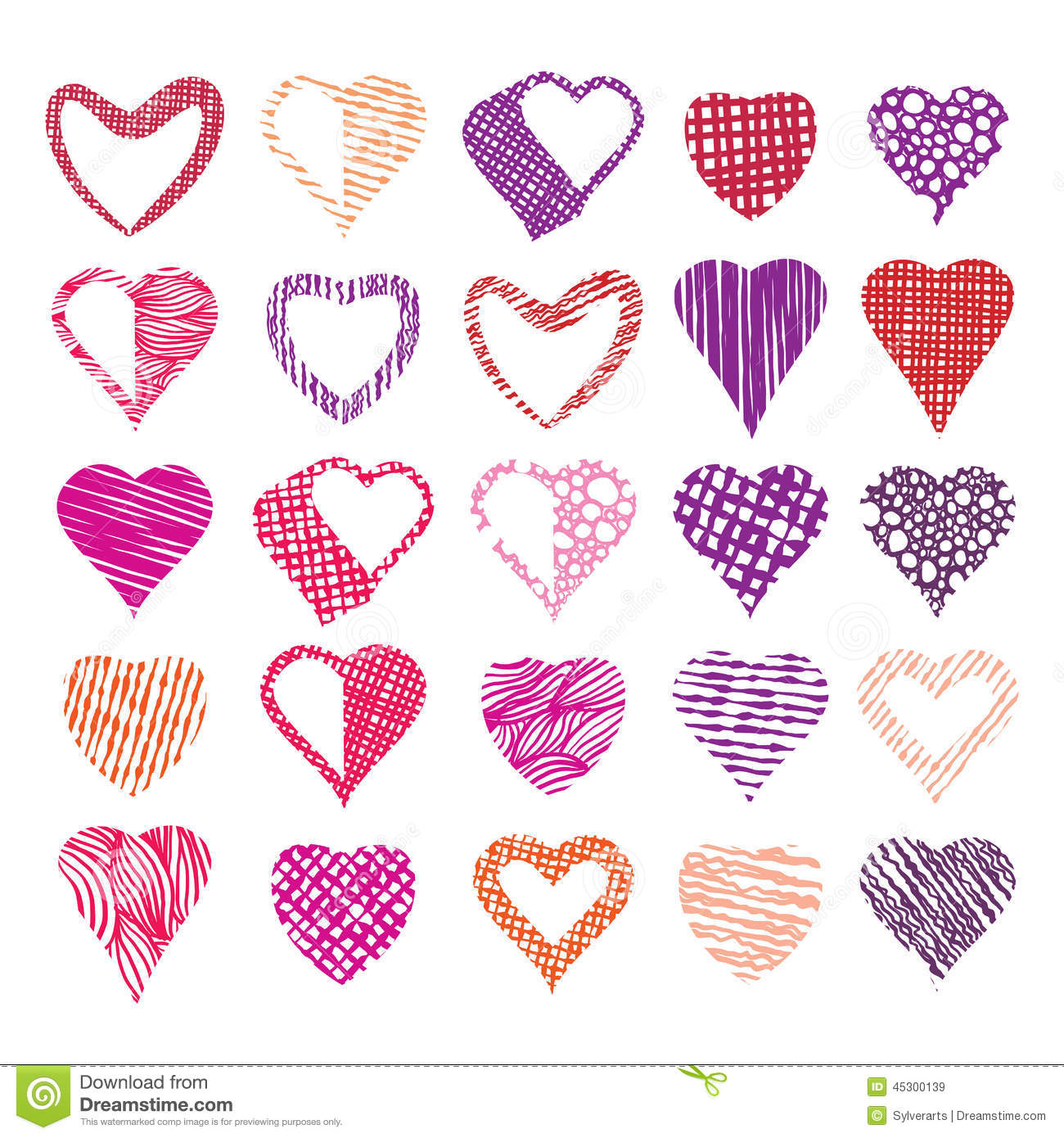 Vector marriage and love symbols of hearts stock vector hearts symbols vector set different textured shapes royalty free stock images buycottarizona Images