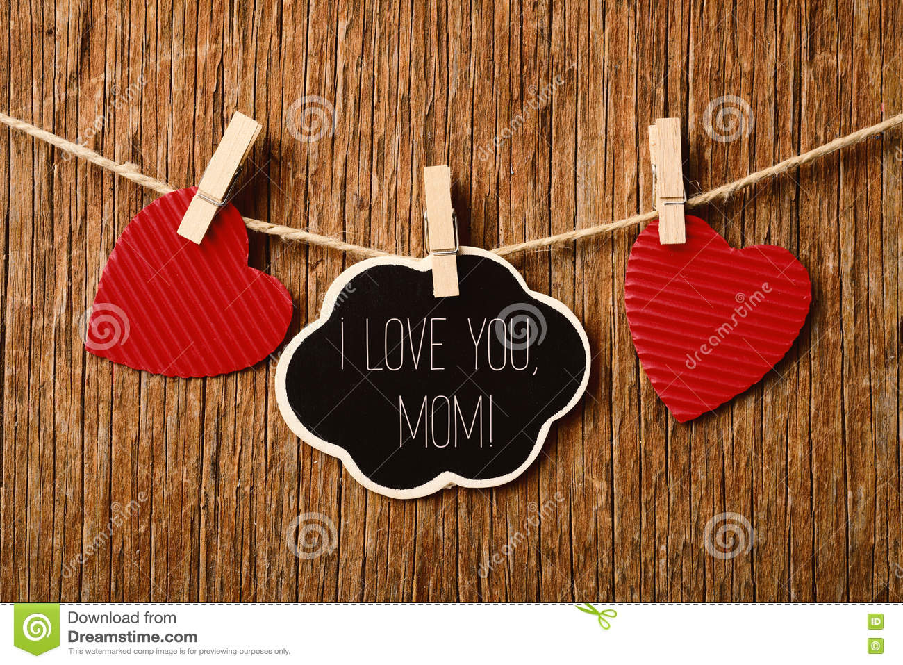 Hearts And Text I Love You Mom Stock Photo Image Of Observance