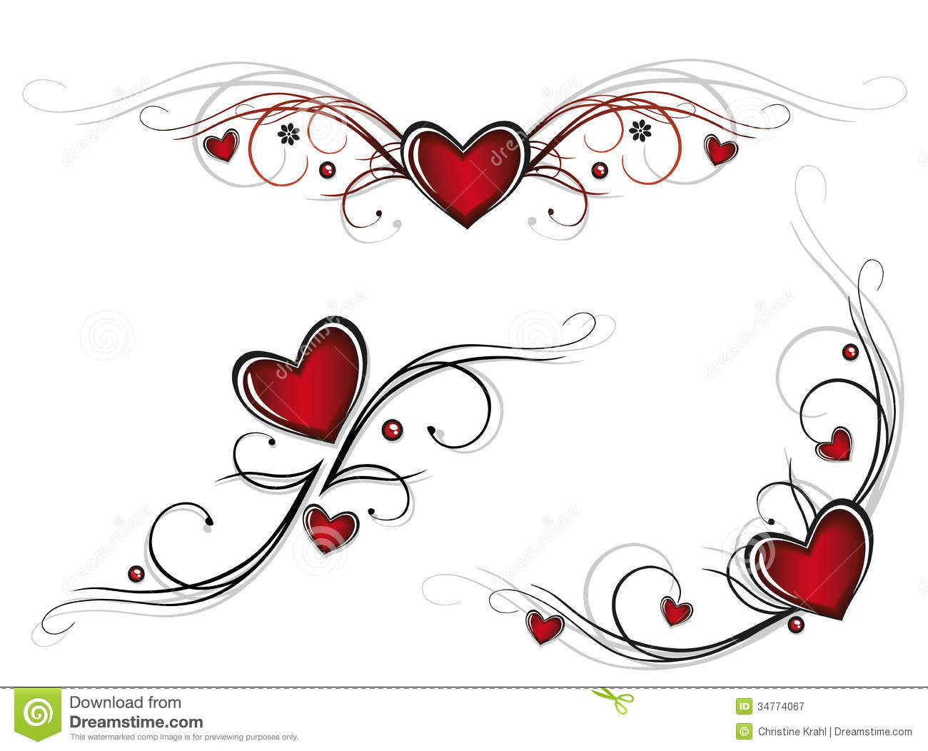 Hearts, Tribals Royalty Free Stock Photography - Image: 34774067