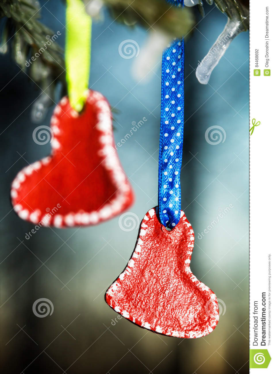 Hearts Valentines Day Hanging On The Winter Tree Stock Photo Image