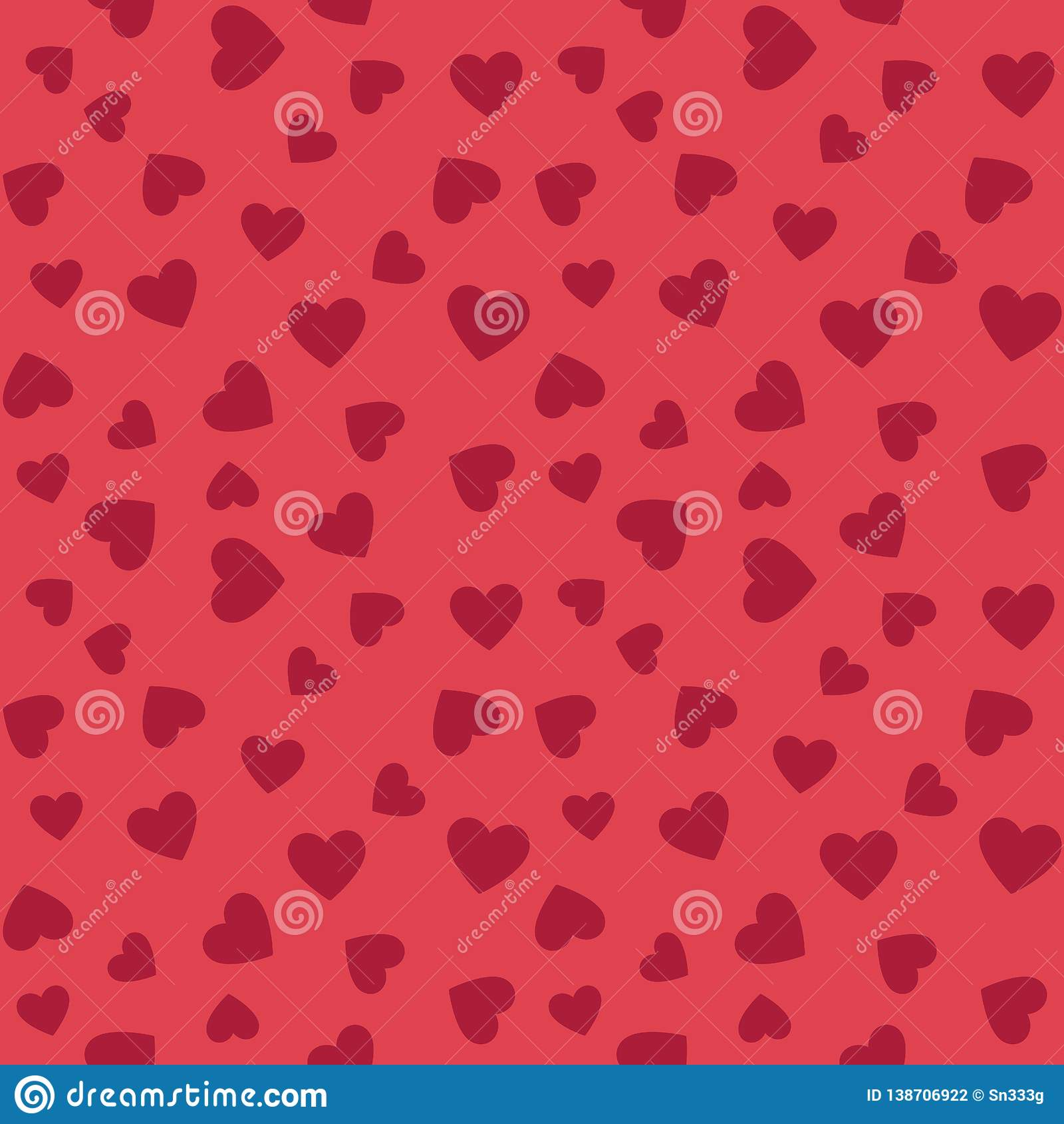 Hearts vector flat seamless pattern. Valentines background