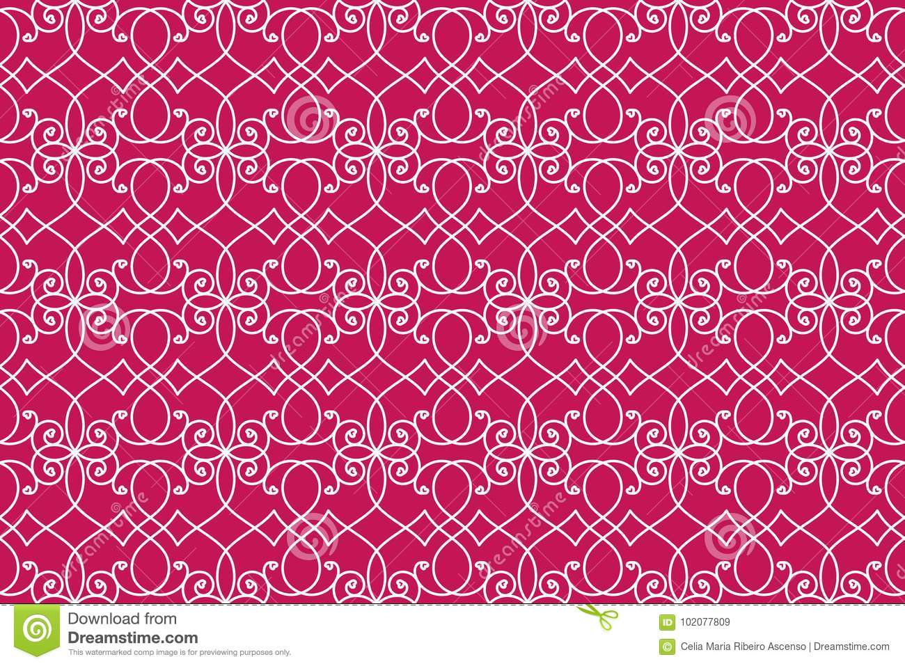 Abstract interlaced hearts detailed victorian wall wallpaper background. Seamless pattern.