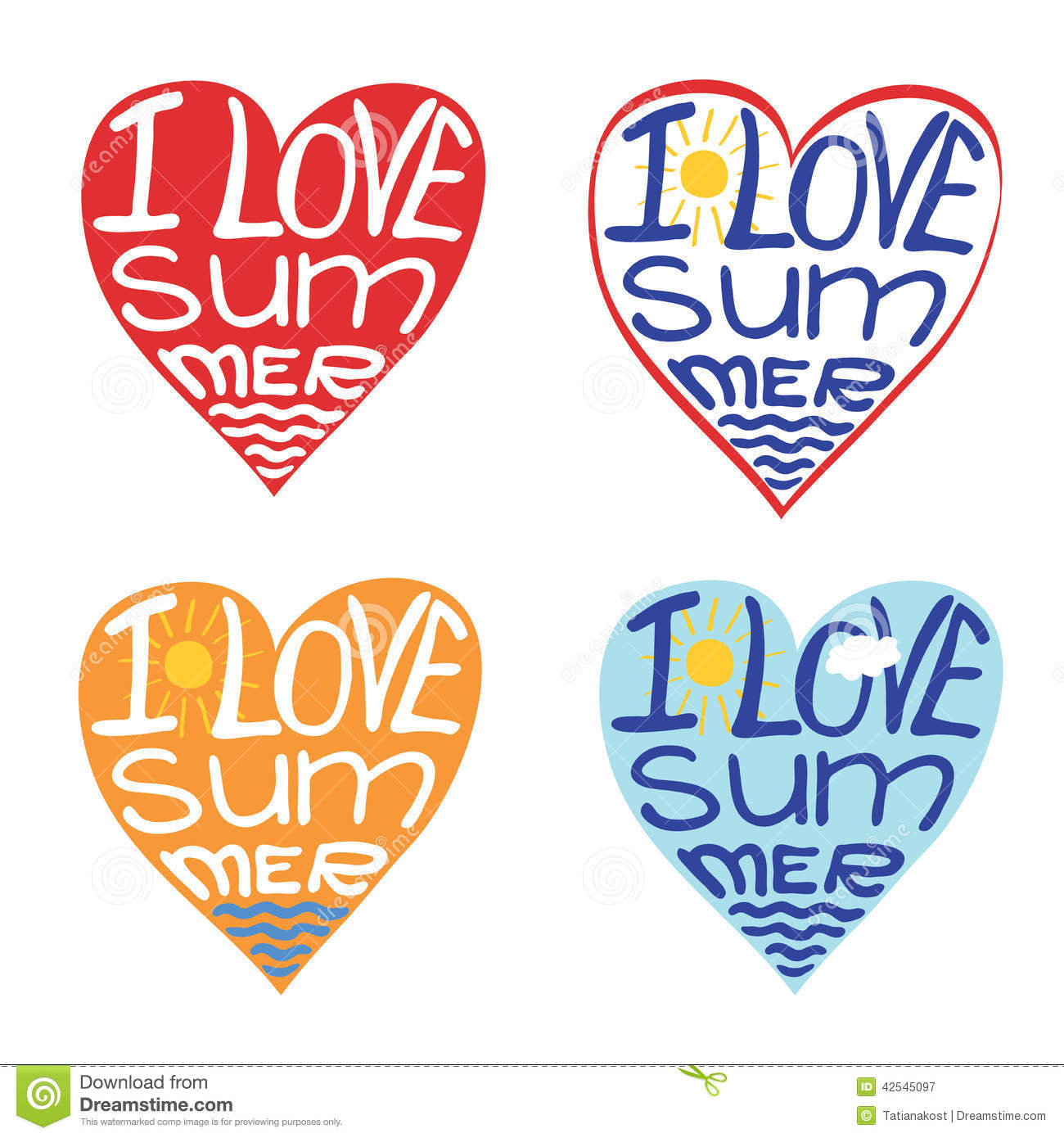 Hearts From Words I Love Summer.Typography Design Stock ...