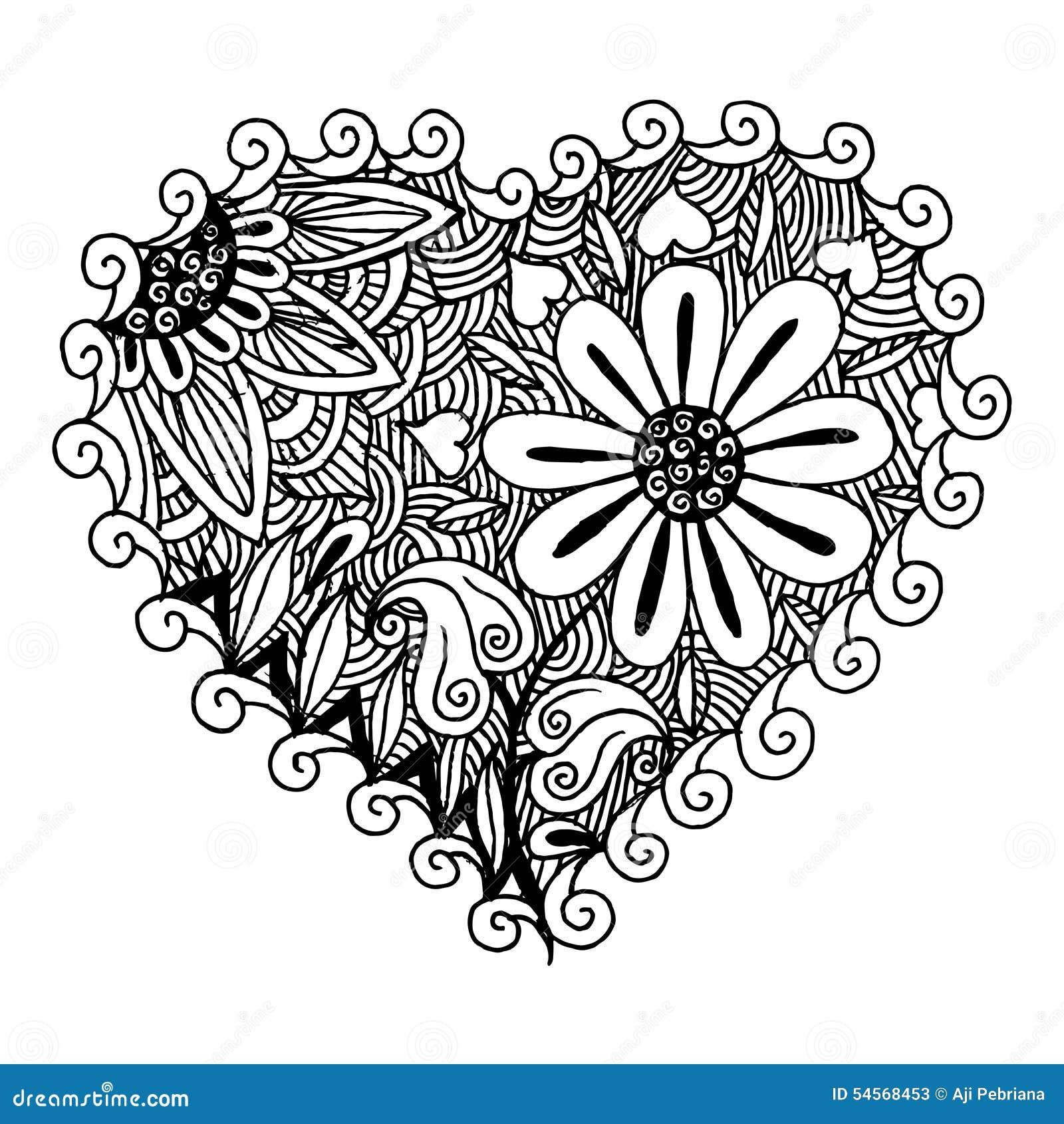 Hearts Zentangle Stock Vector