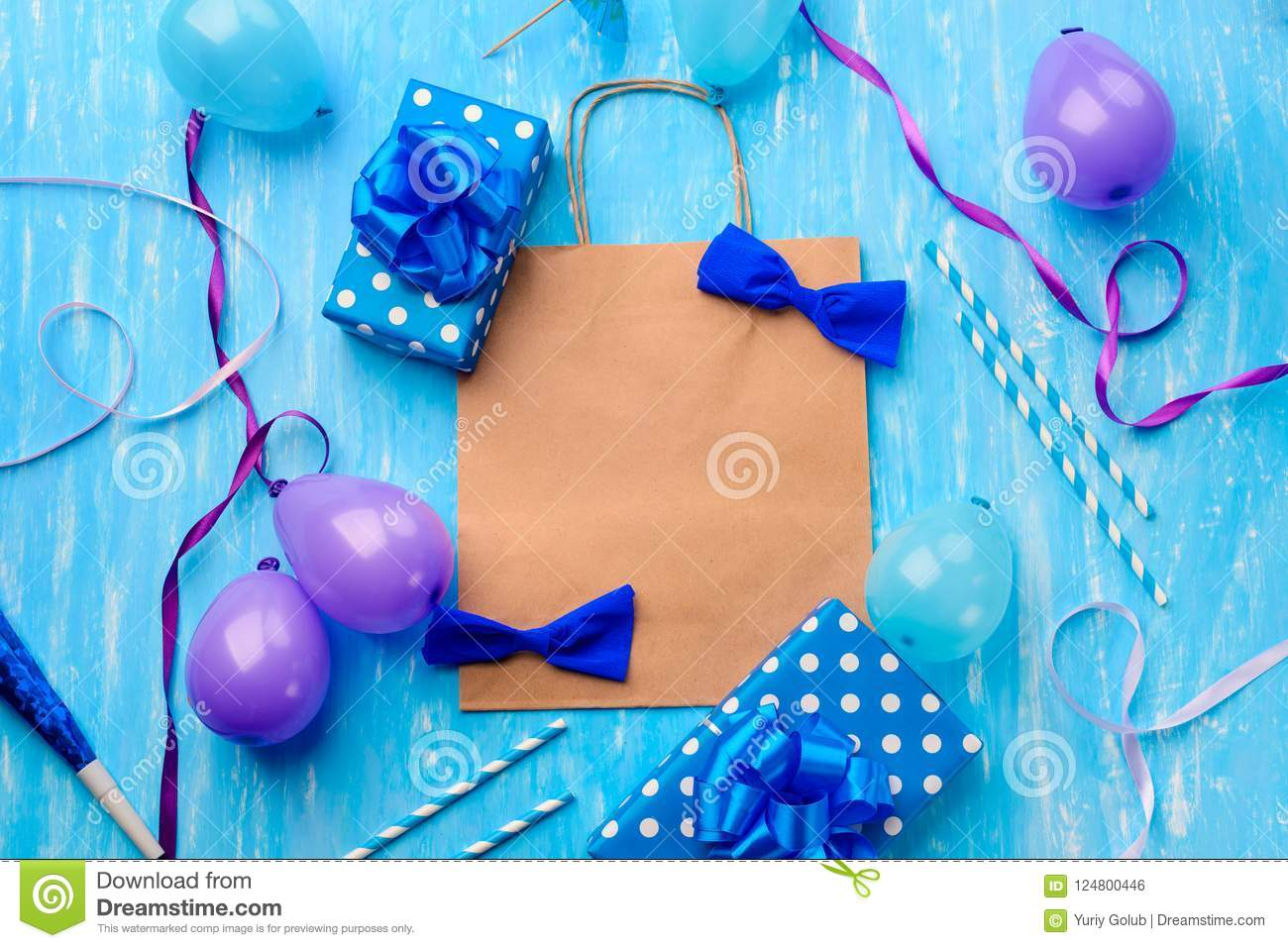 Handcrafted Bows Violet Balloons Cocktail Straws Noisemakers Polka Dots On The Blue Background Heartwarming Horizontal Birthday Card Template