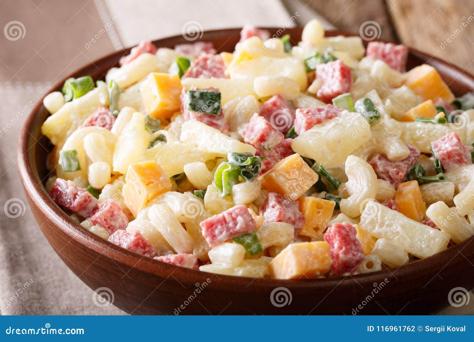 Hearty Hawaiian Salad With Pasta Ham Pineapple Onion Cheddar