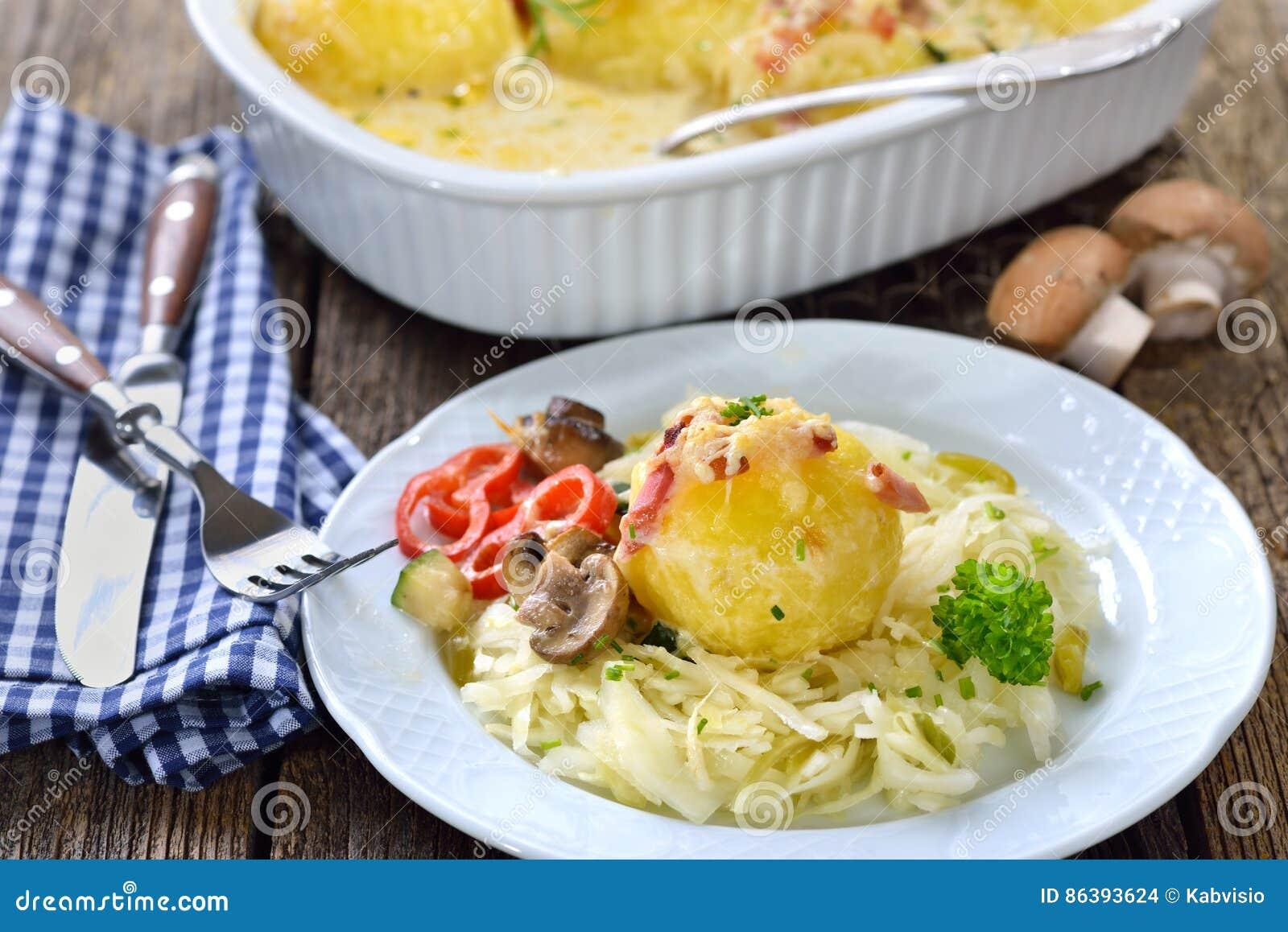 Potato dumpling gratin