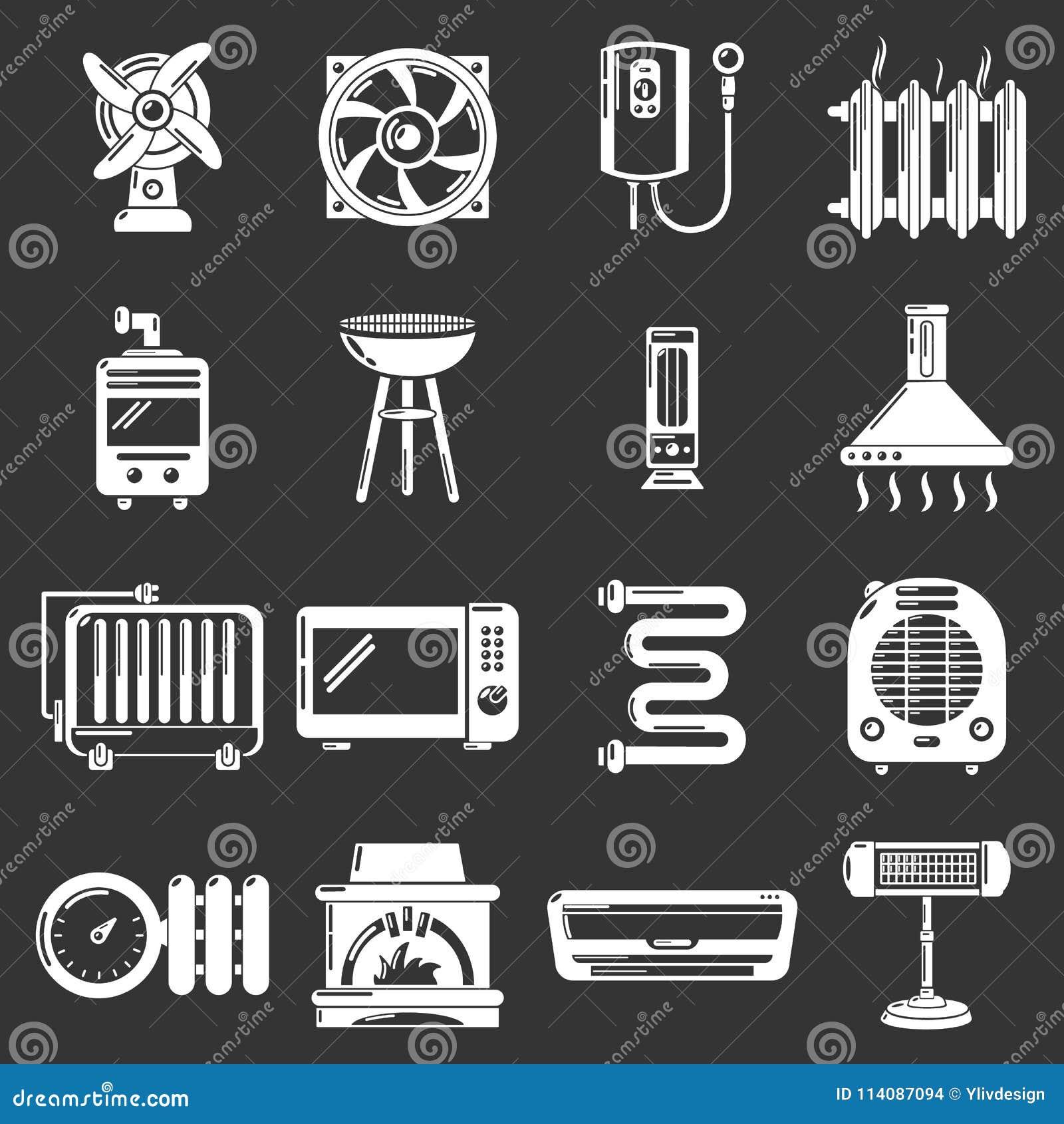 Heat cool air flow tools icons set grey vector