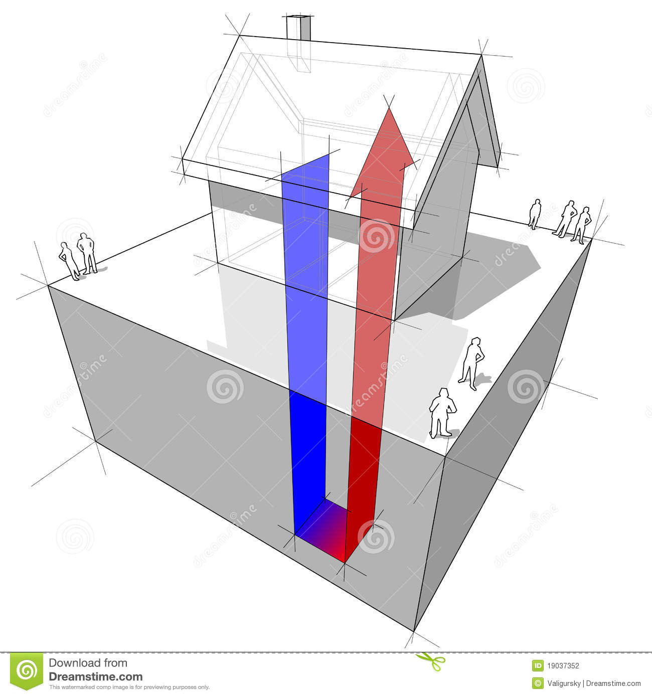 Heat Pump Diagram Stock Vector  Illustration Of Outline