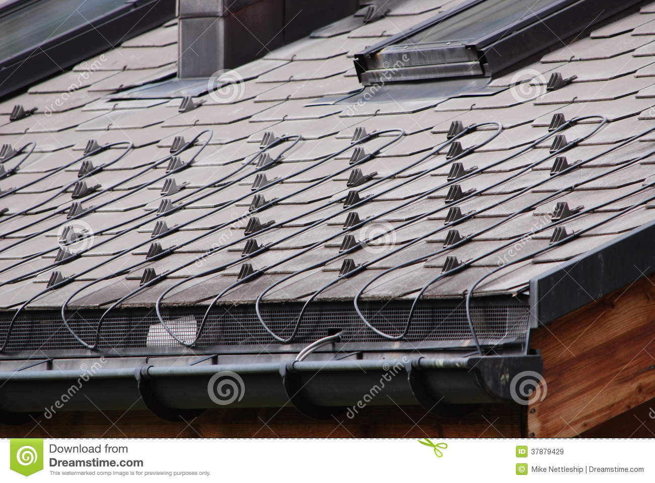 Heated Roof Tiles In Switzerland Stock Image Image Of