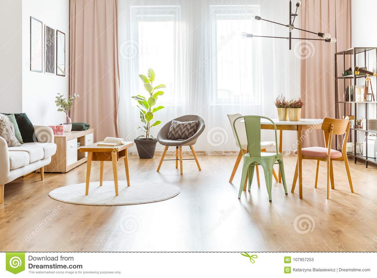 Mint and pink living room stock image. Image of cloth - 107957253