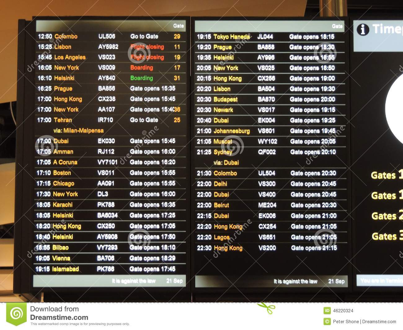 Heathrow Airport Departure Board Stock Photo - Image of