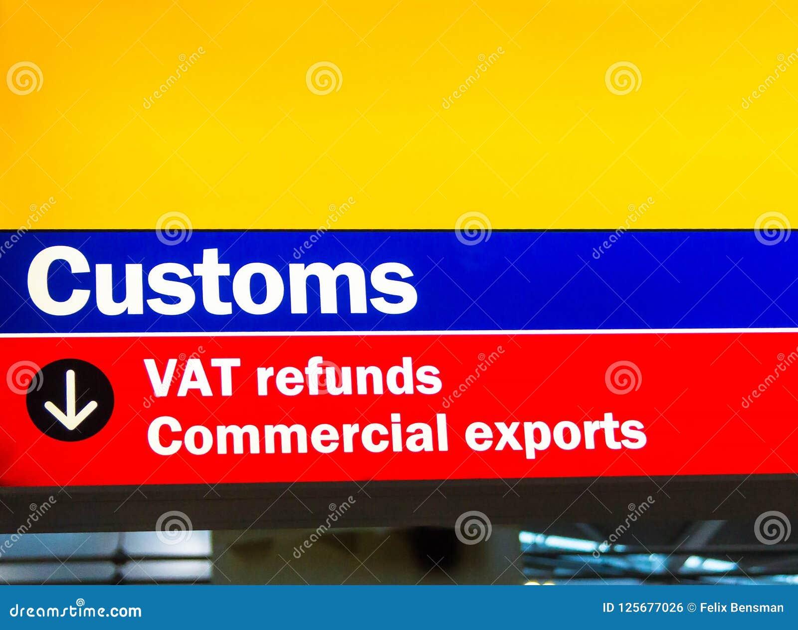 Heathrow flygplats, Longford, UK Egenar och mervärdeskattåterbäringtecken för kommersiella exporter