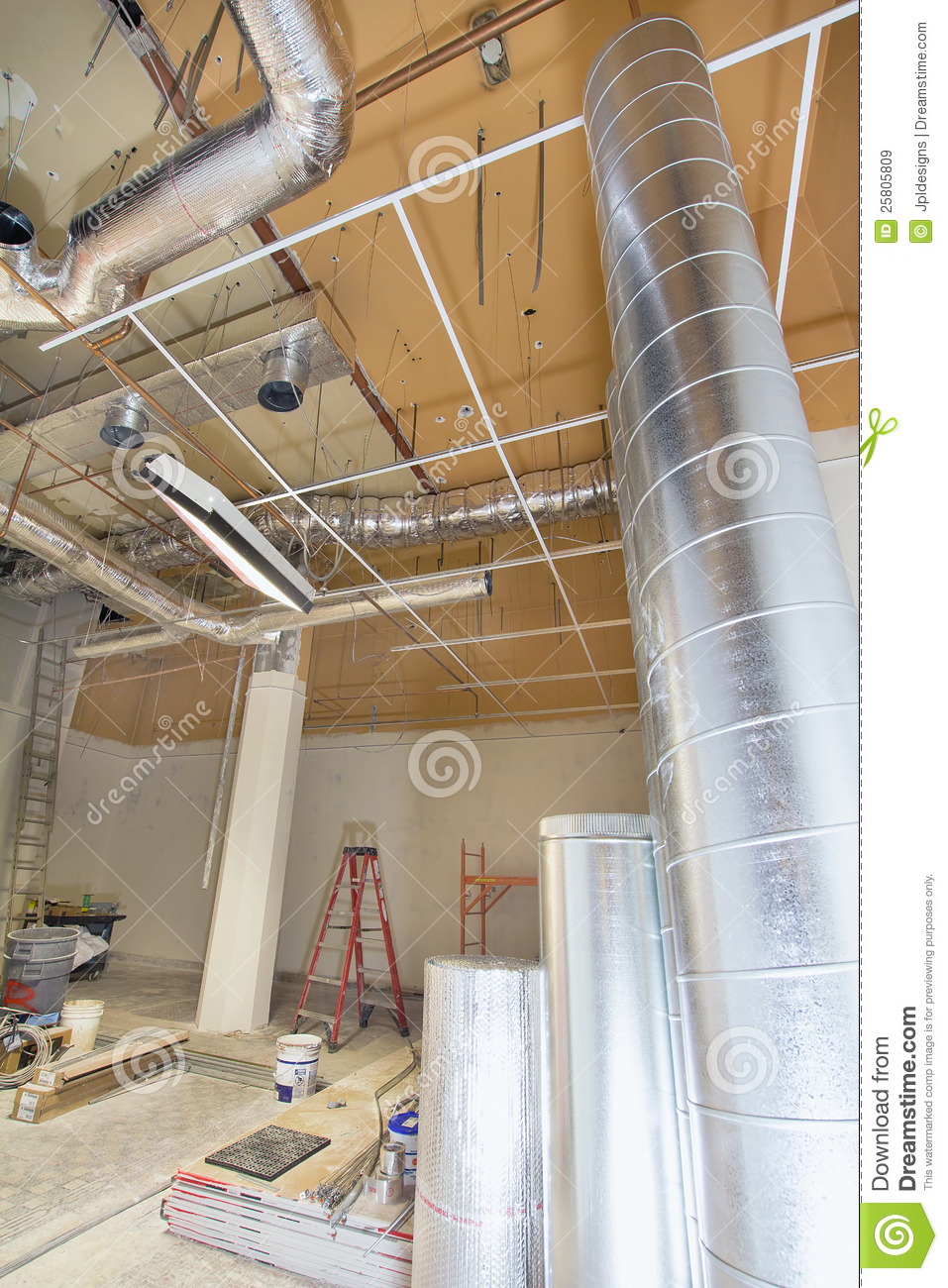 Industrial Cooling Duct : Heating and cooling duct work royalty free stock images