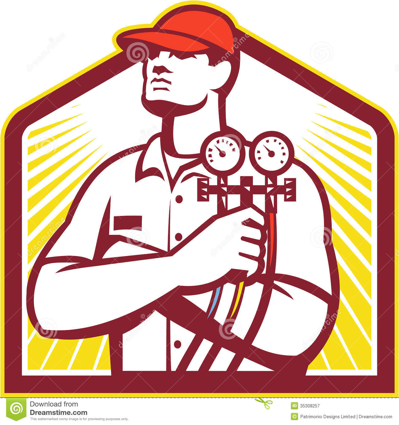 Heating And Cooling : Heating and cooling refrigeration technician retro stock