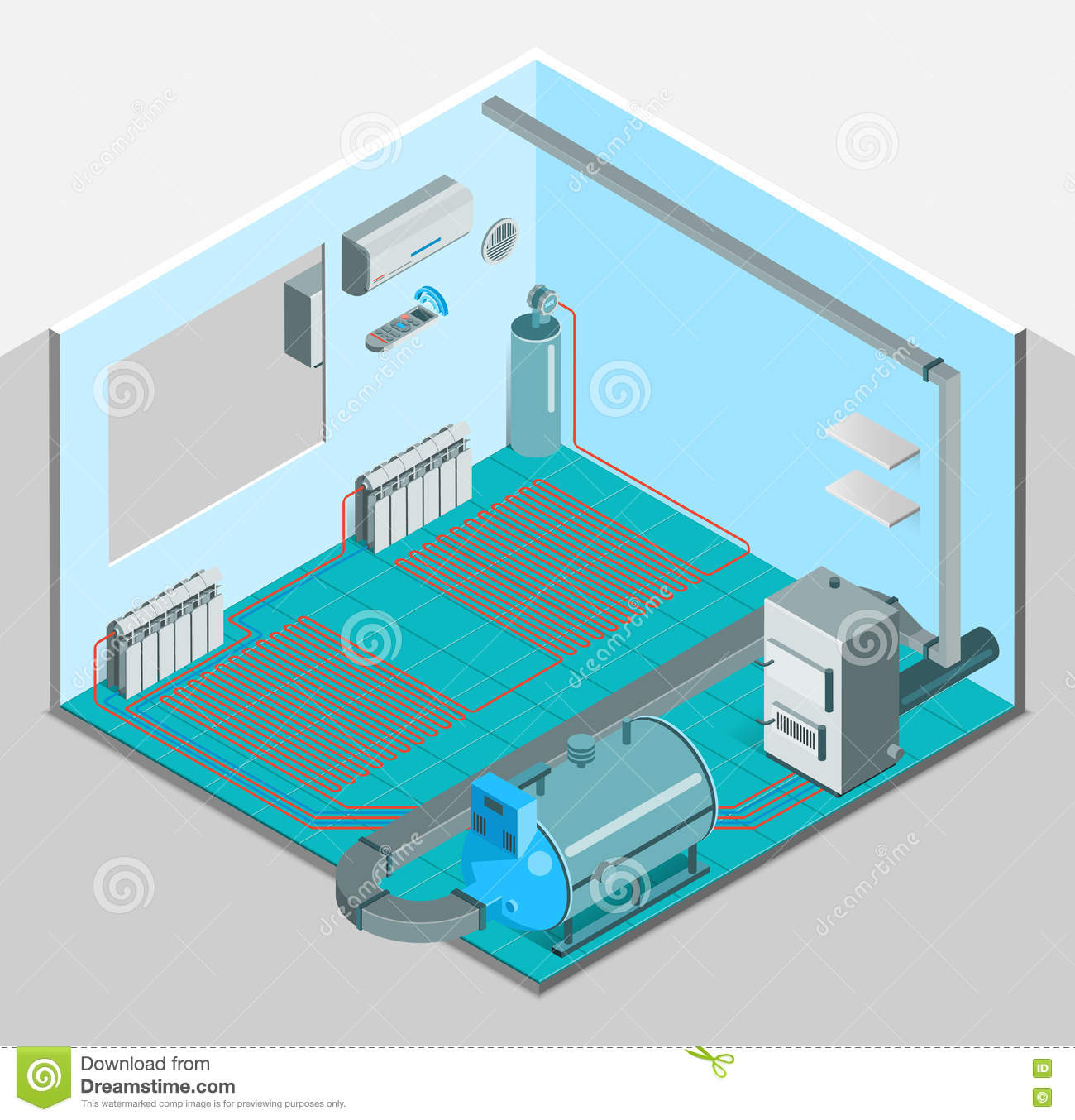 Heating Cooling System Interior Isometric Template Stock Vector ...