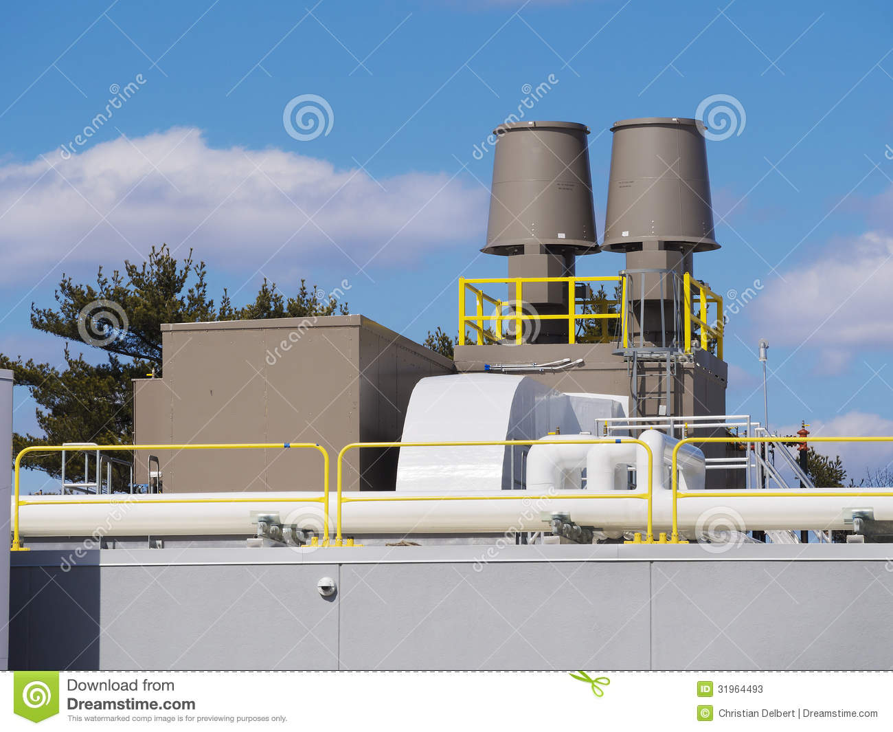 Industrial Building Ventiltors : Heating and cooling ventilation system stock photos