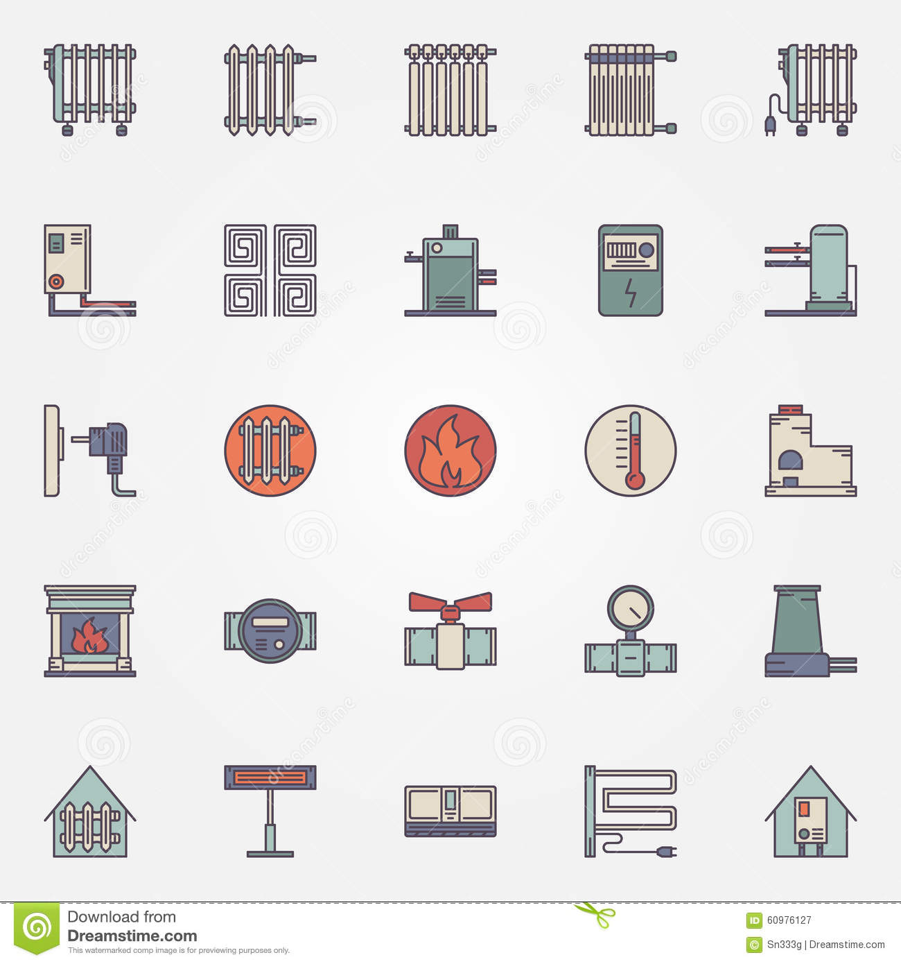 heating flat icons stock vector image 60976127. Black Bedroom Furniture Sets. Home Design Ideas