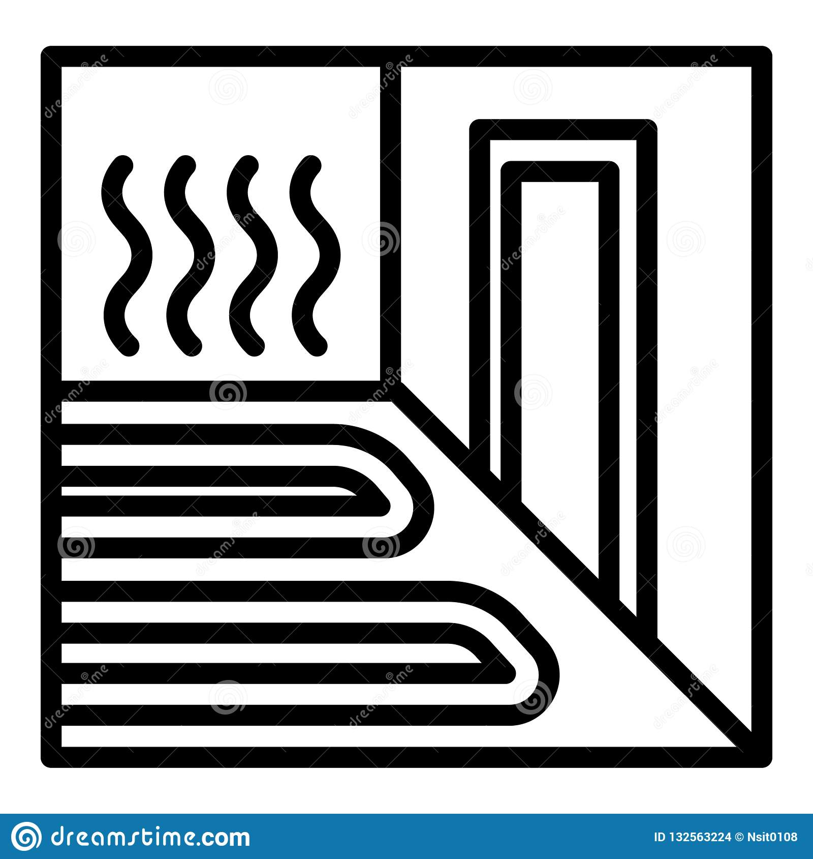 Heating floor room icon, outline style