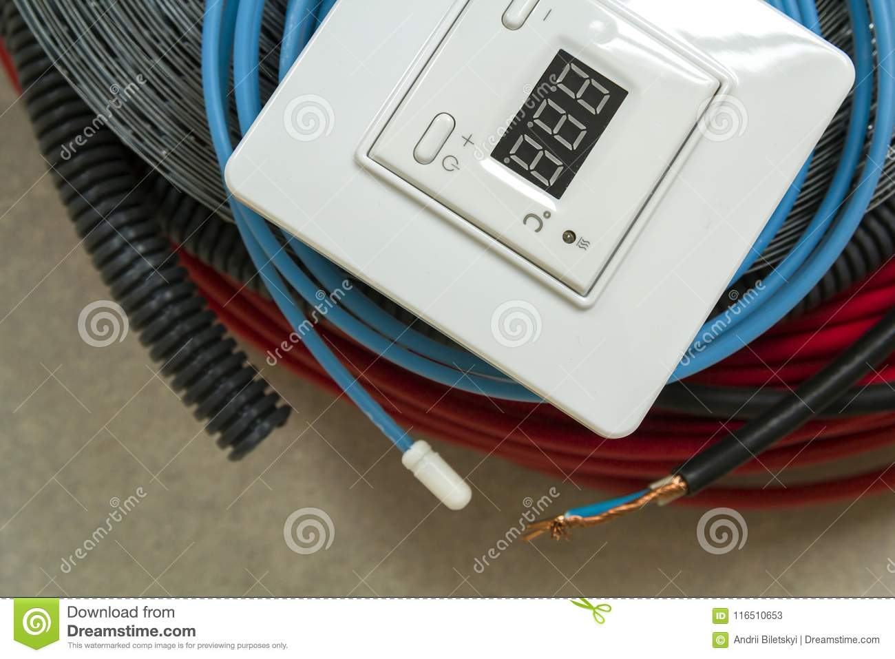 Heating Floor System Wires Cables And Control Panel Renovation Wiring A House Network Construction Concept Comfort