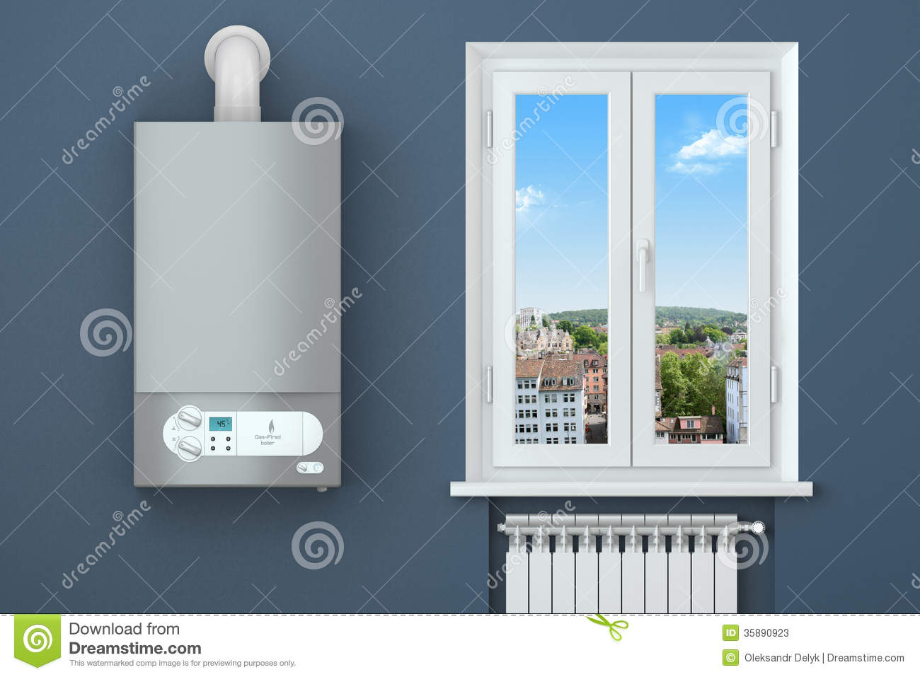 Heating House Gas Boiler Window Heating Radiator Stock