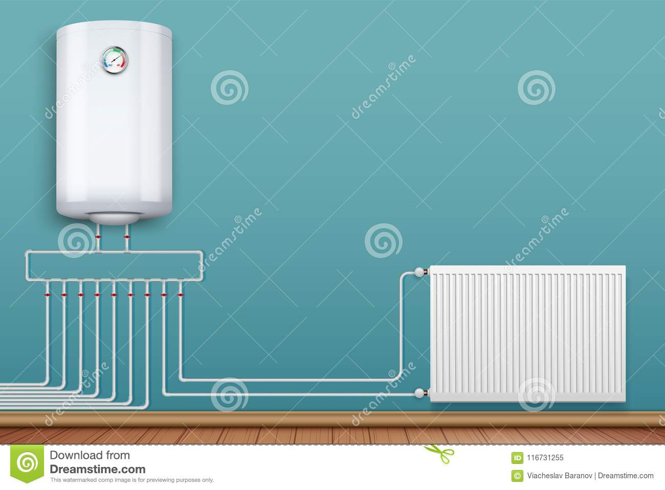 Heating Radiator And Boiler In Room Stock Vector - Illustration of ...