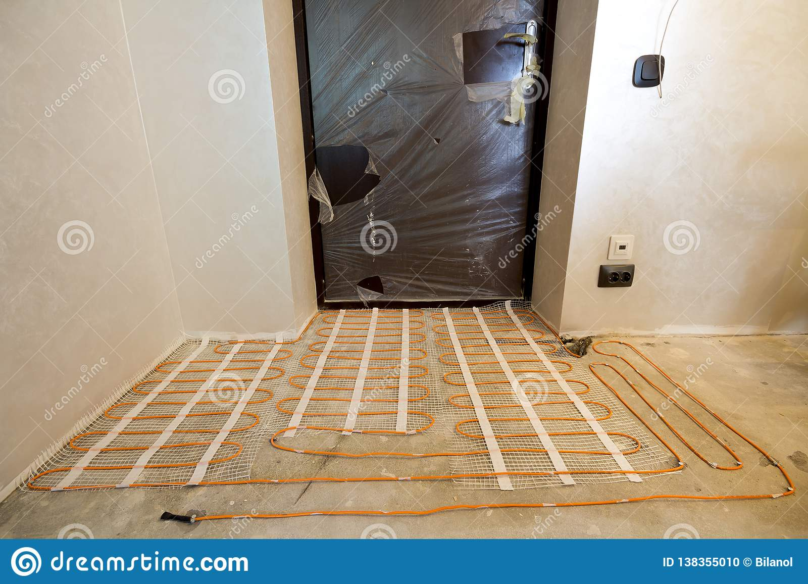 Miraculous Heating Red Electrical Cable Wire System Installed On Cement Floor Wiring Digital Resources Timewpwclawcorpcom