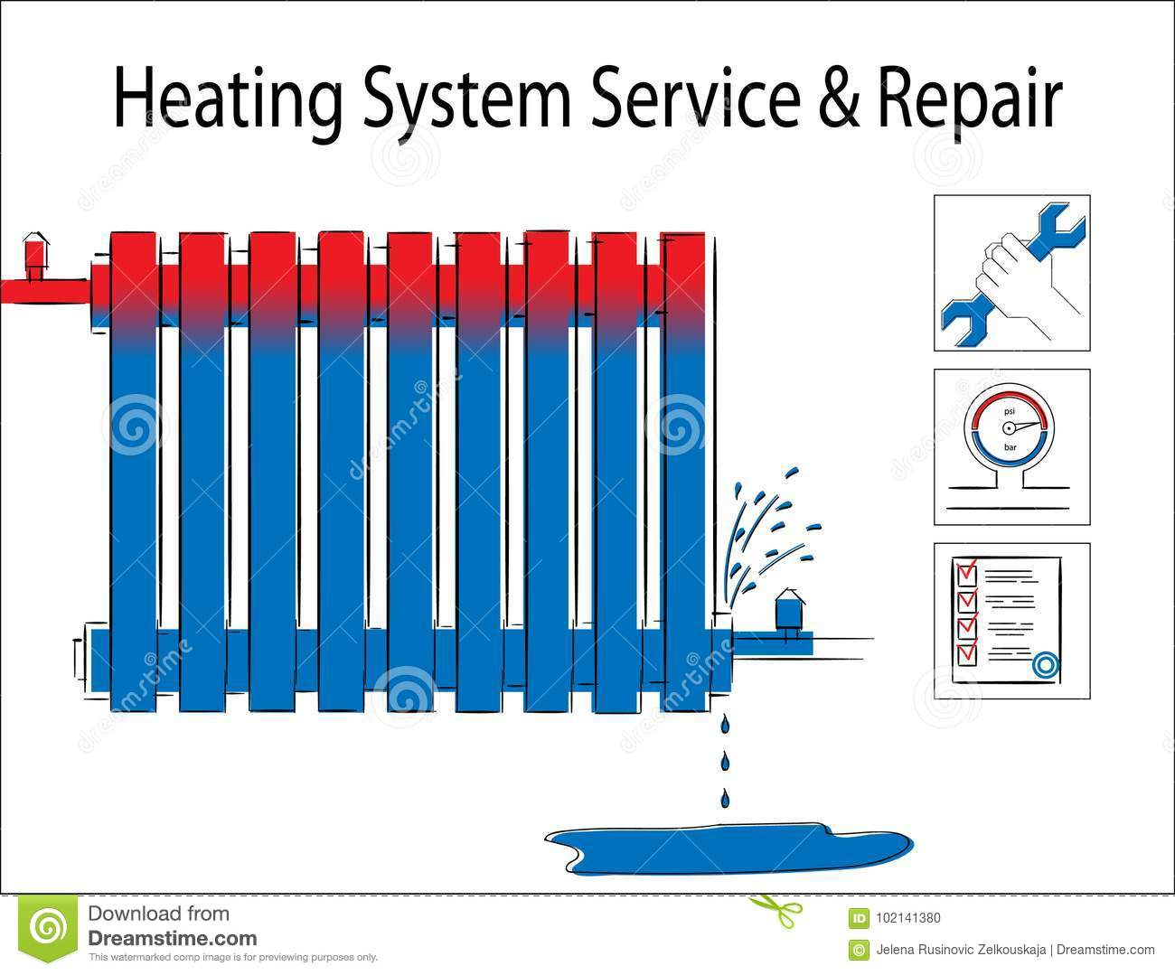 Heating System Service And Repair.Illustration With Leaky Heating ...