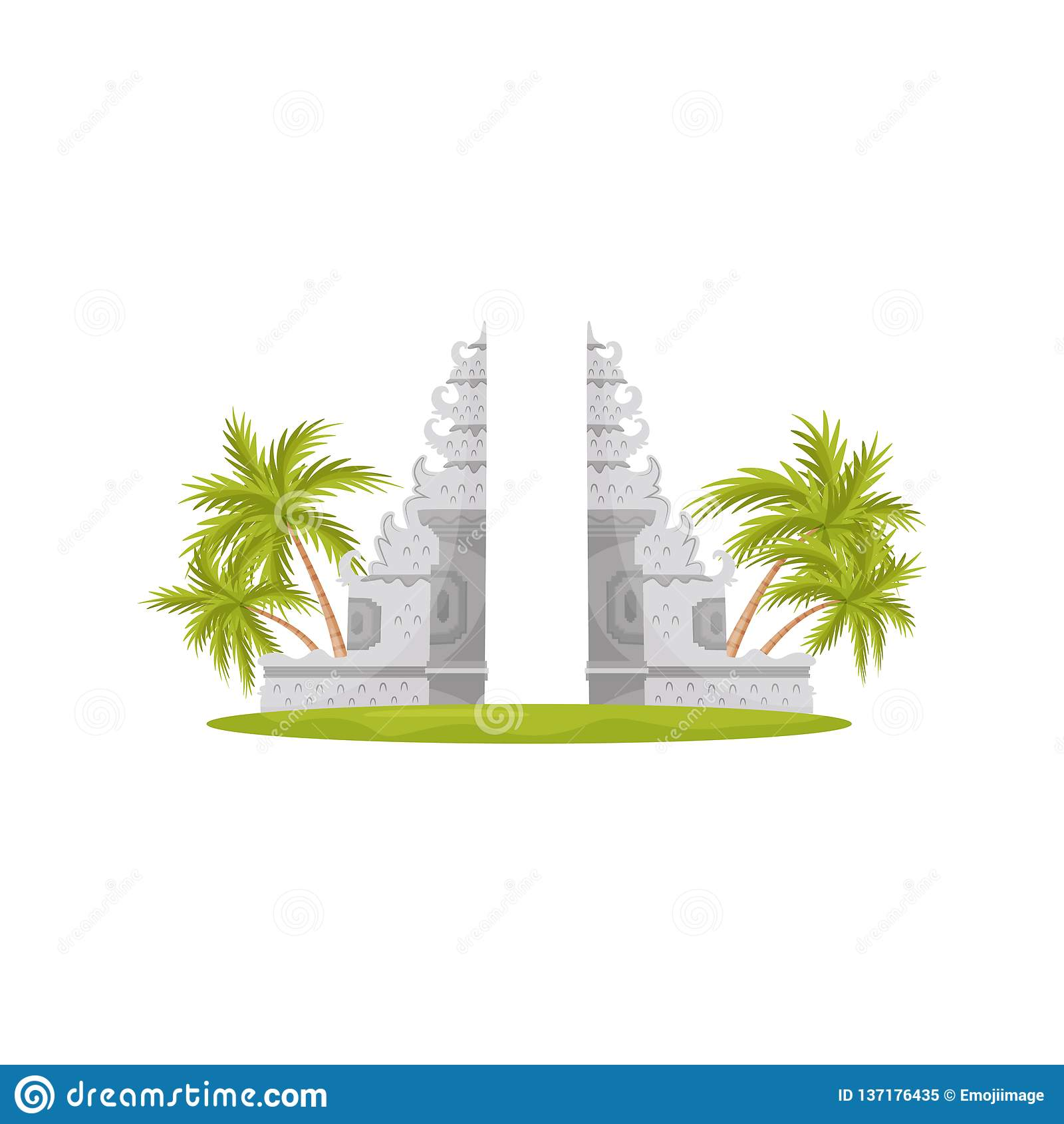 Heaven Gates In Lempuyang Temple Green Palm Trees And Grass Travel To Bali Historical Monument Flat Vector Design Stock Vector Illustration Of Cartoon Background 137176435