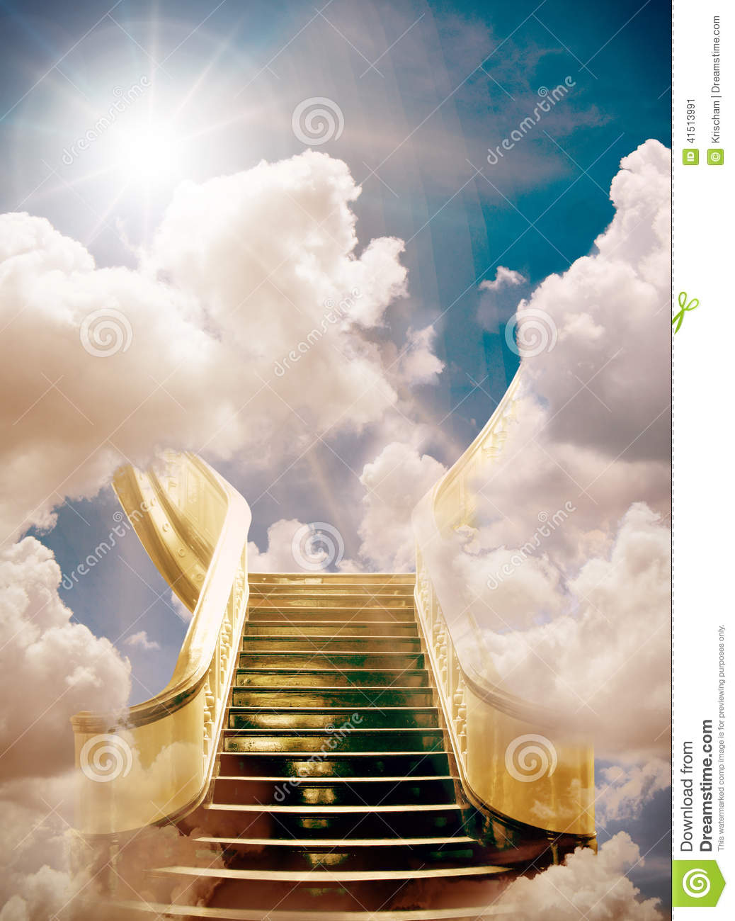 Golden stairway to heaven background.