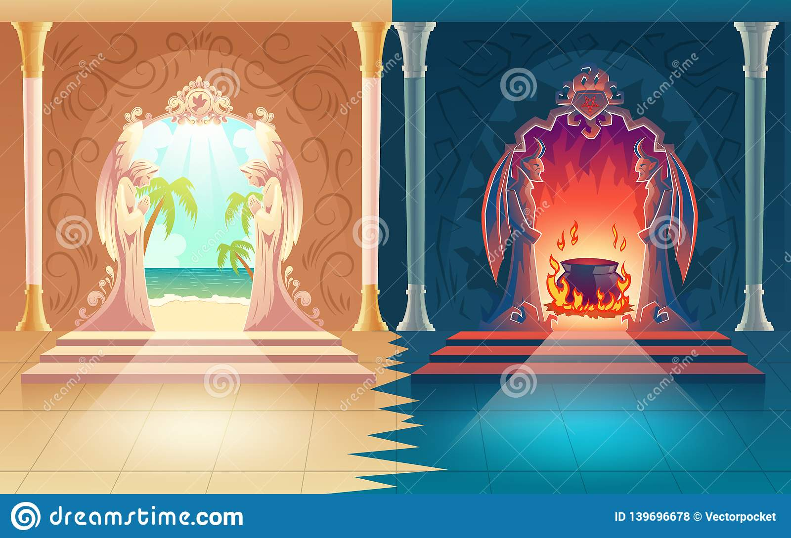 Heaven and hell gates cartoon vector concept